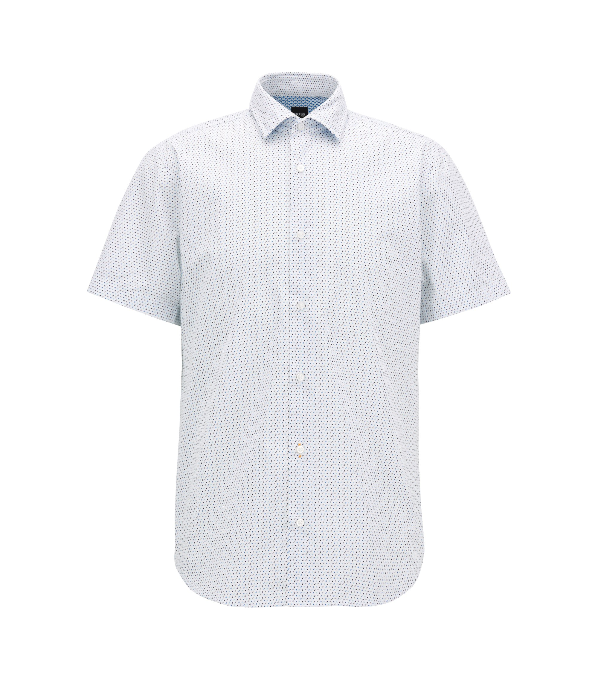 Regular-fit cotton shirt with micro geometric print, White