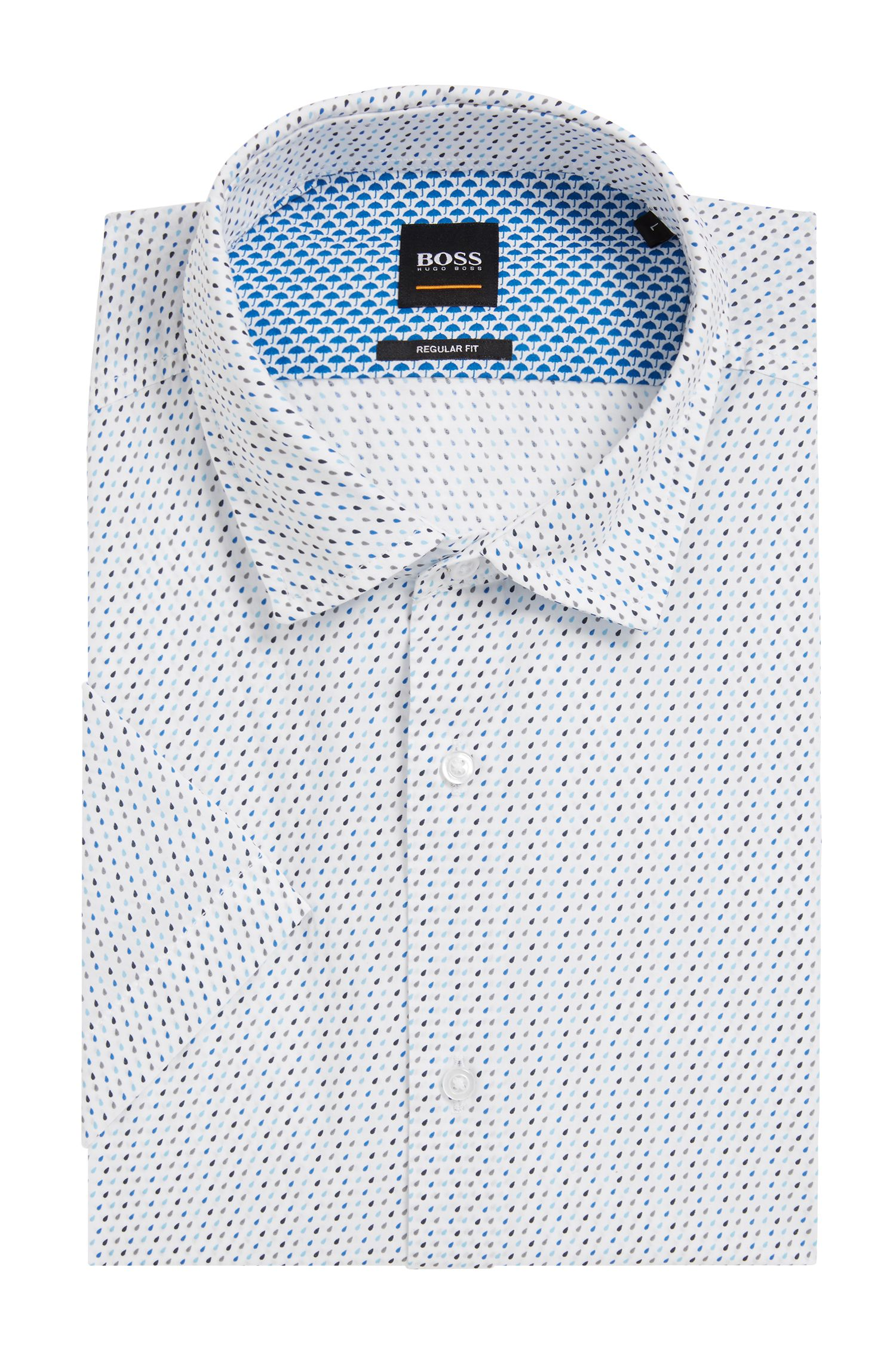 Regular-fit cotton shirt with micro geometric print, White