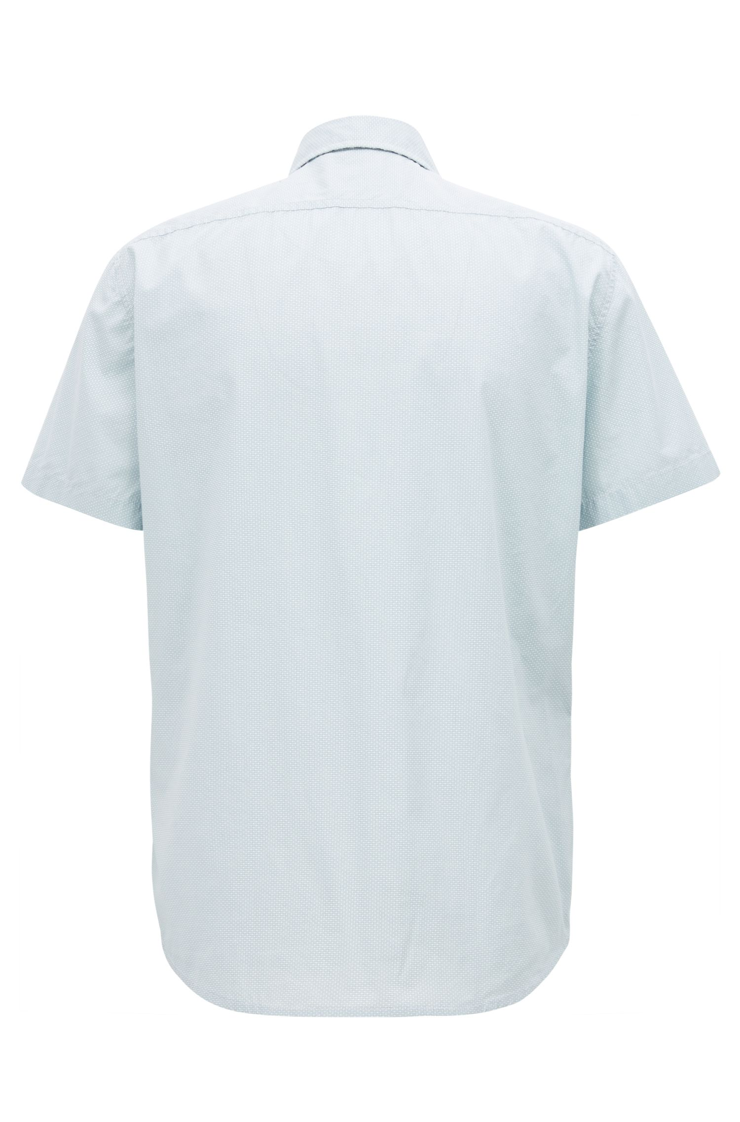 Regular-fit cotton shirt with micro geometric print, Light Blue