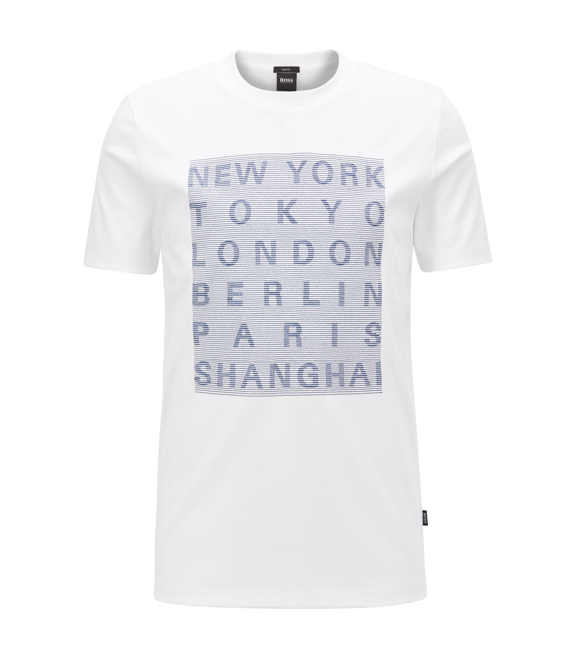 Slim-fit cotton T-shirt with stitched graphic, White