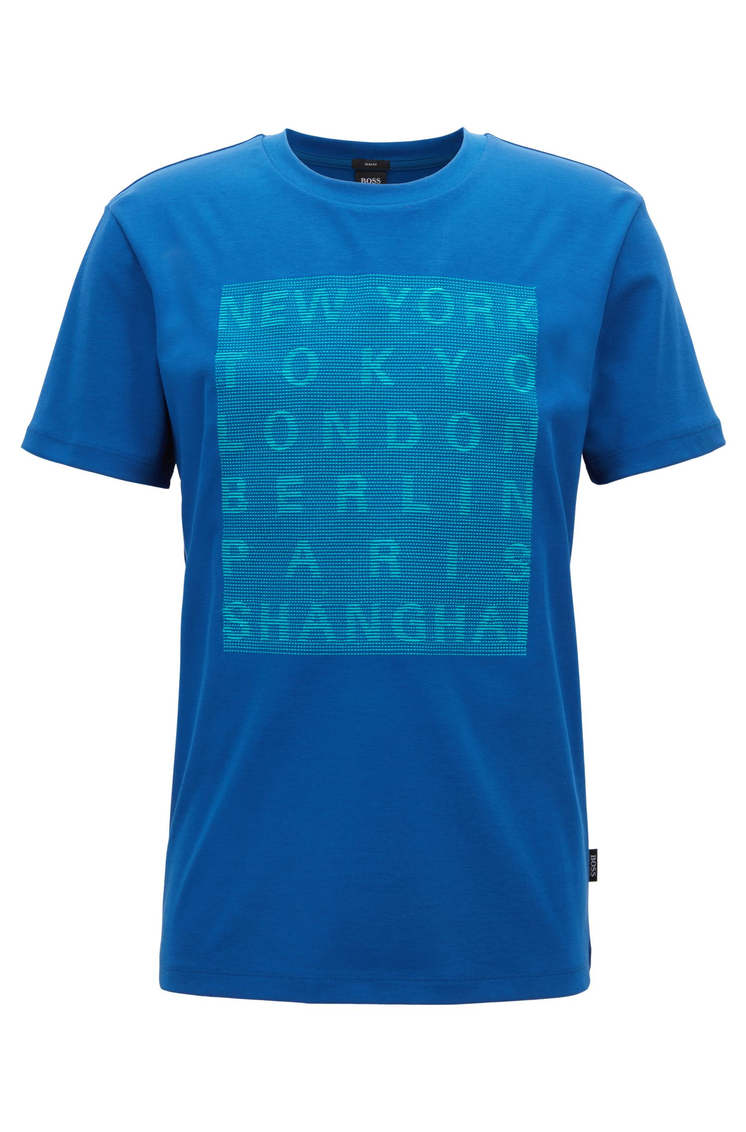 Slim-fit cotton T-shirt with stitched graphic, Open Blue
