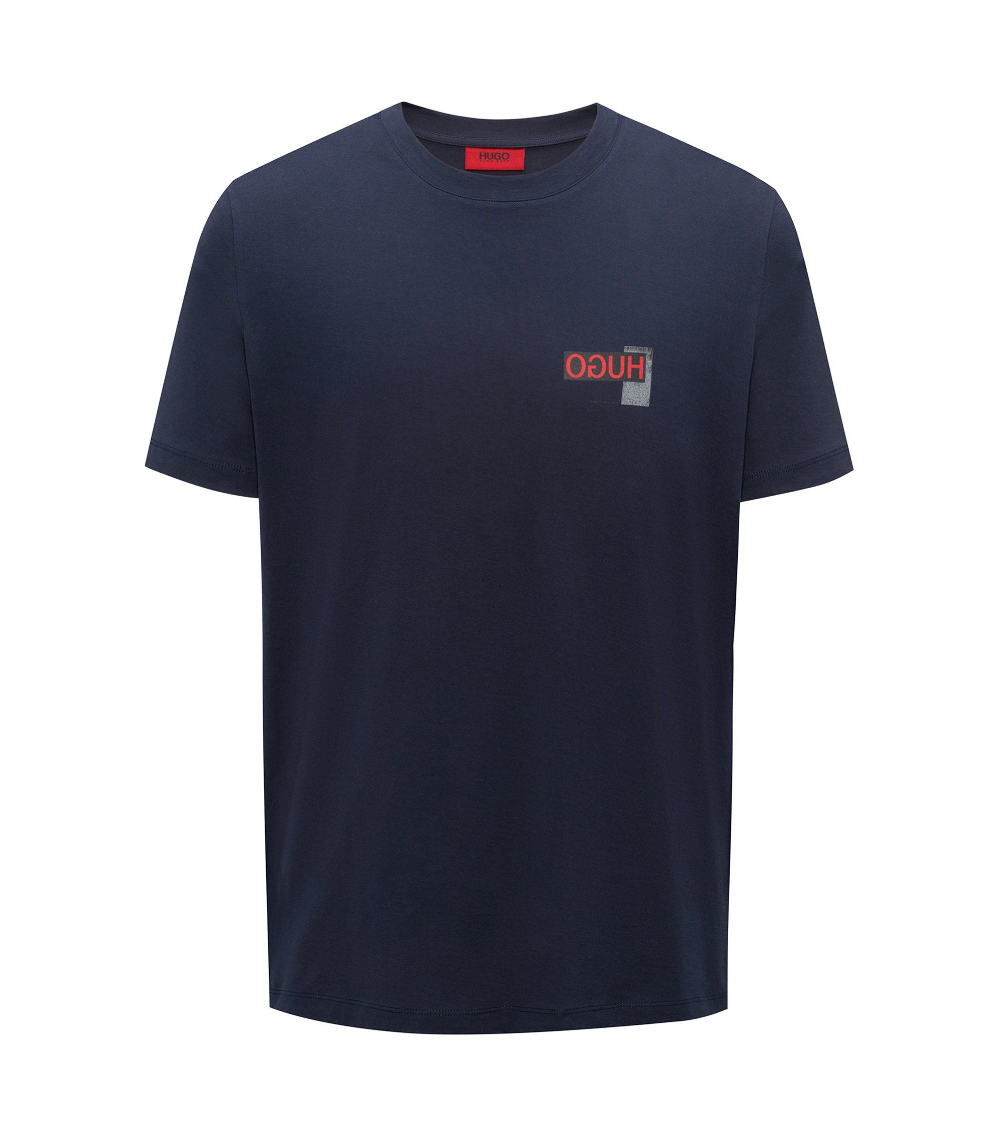 Oversized-fit T-shirt with reverse logo print, Dark Blue