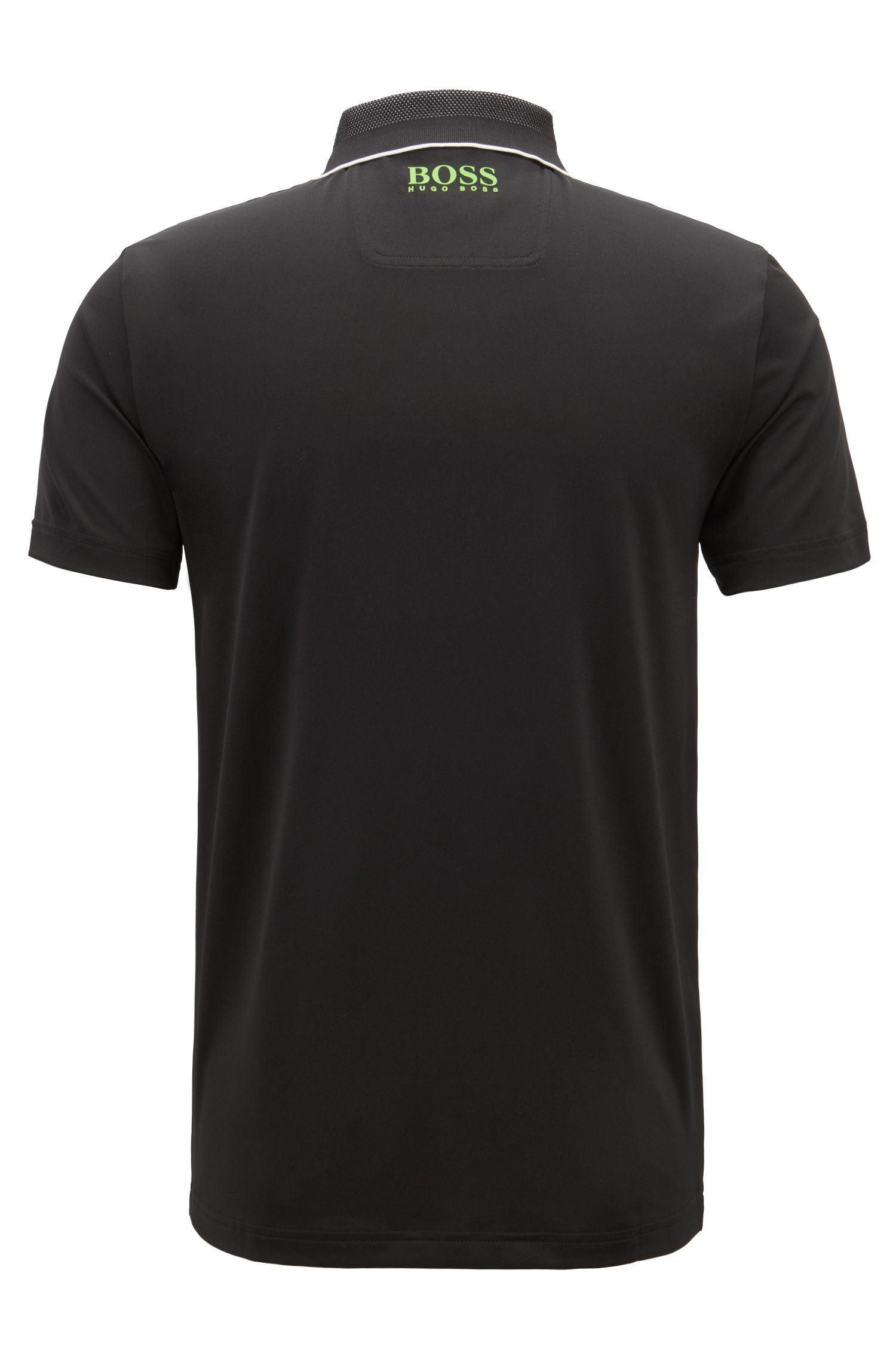 Slim-fit polo shirt in moisture-wicking stretch fabric, Black