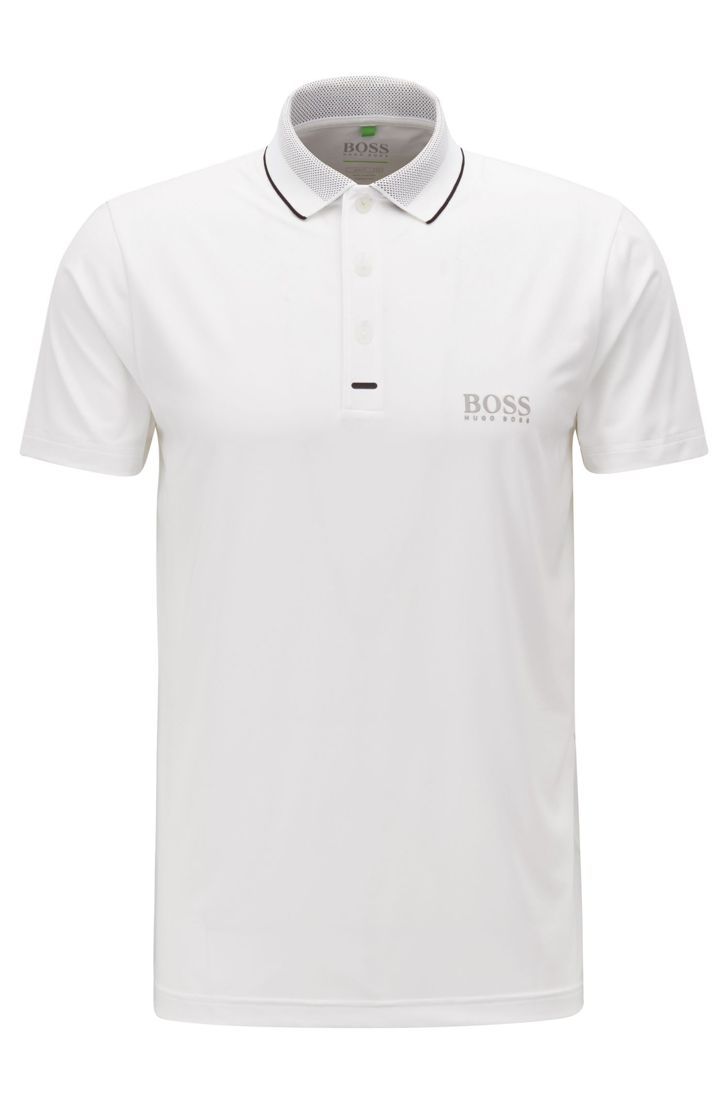Slim-fit polo shirt in moisture-wicking stretch fabric, White