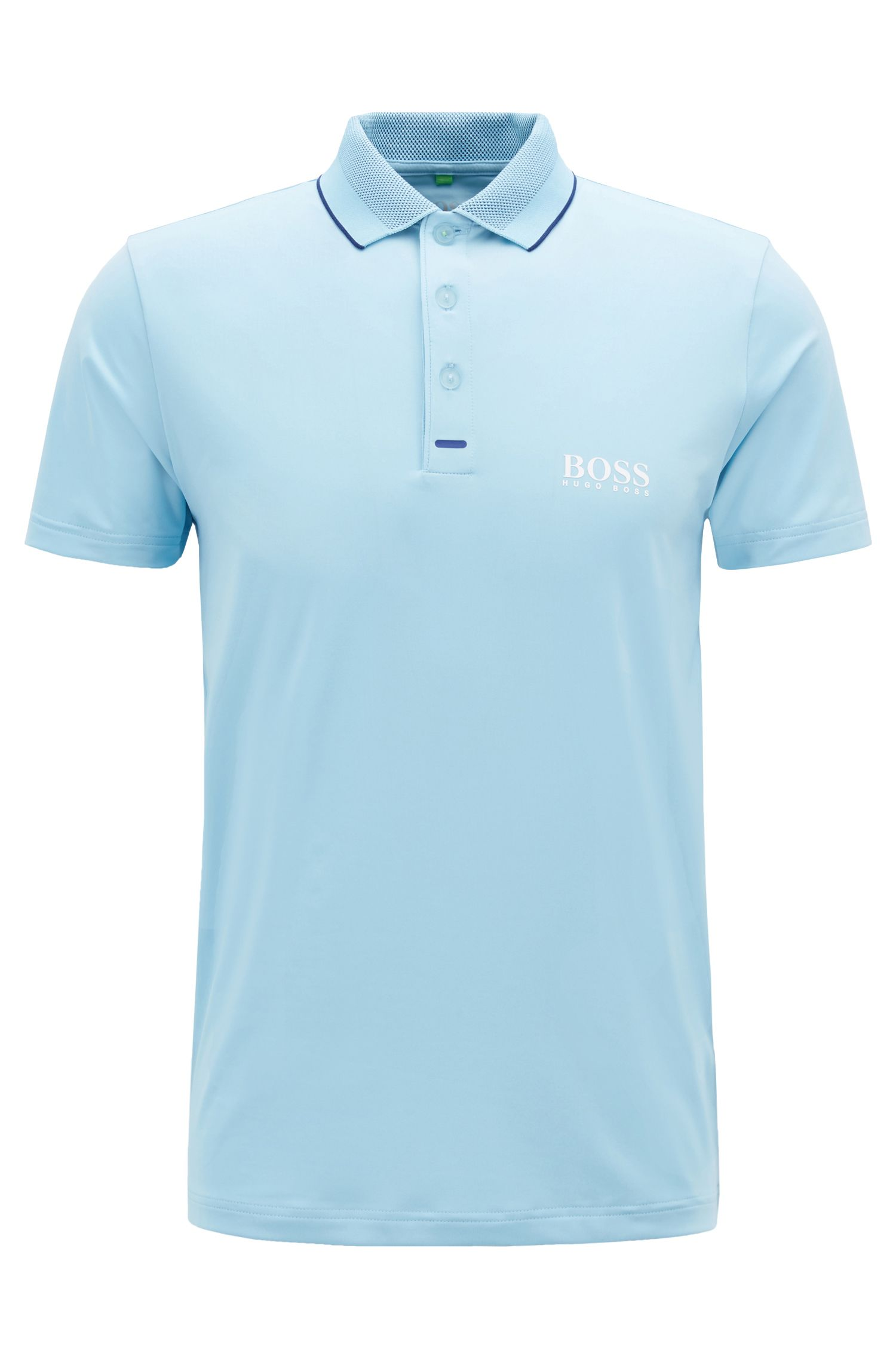 Slim-fit polo shirt in moisture-wicking stretch fabric, Dark Blue