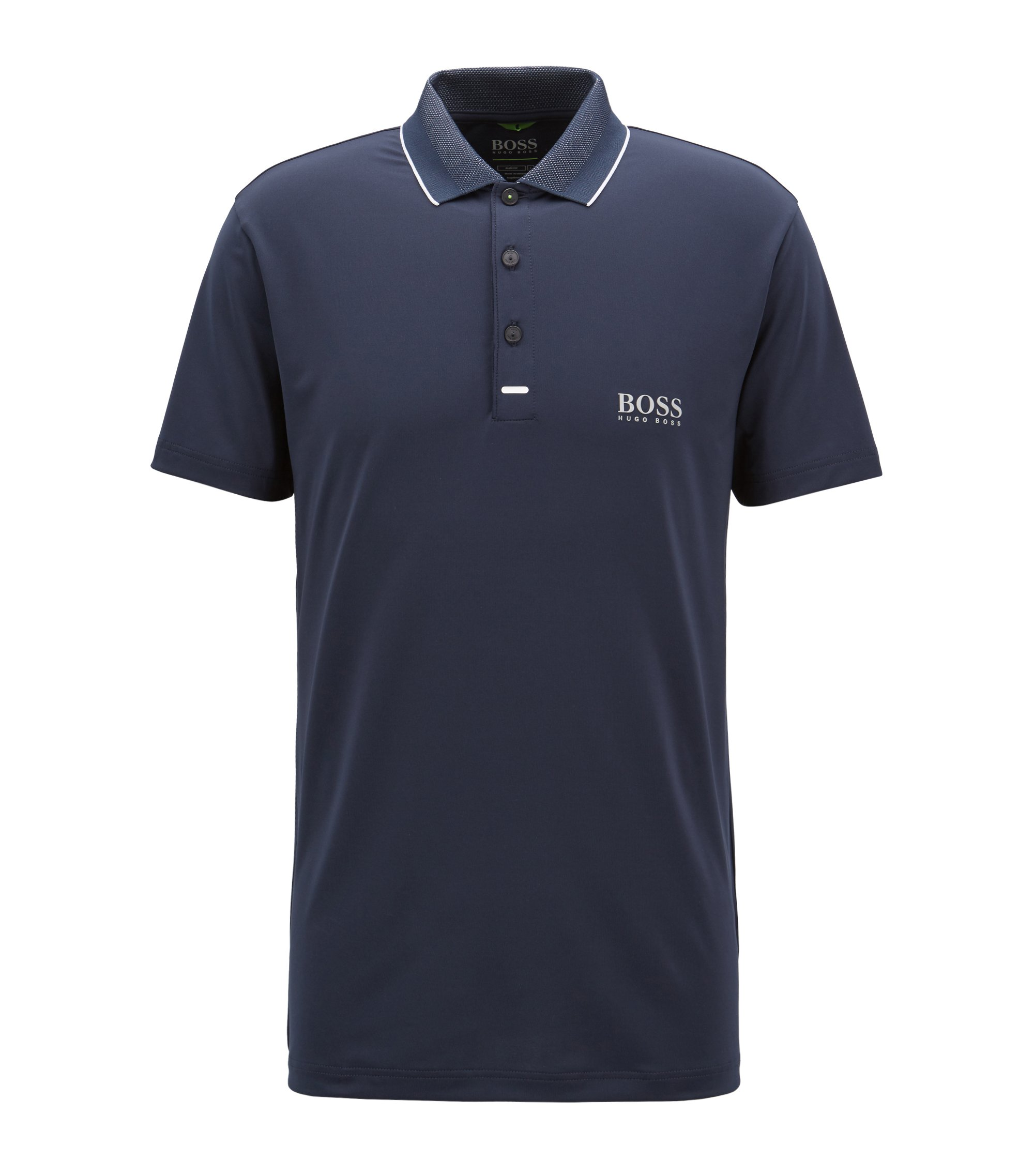 Slim-fit polo shirt in moisture-wicking stretch fabric, Dark Blue
