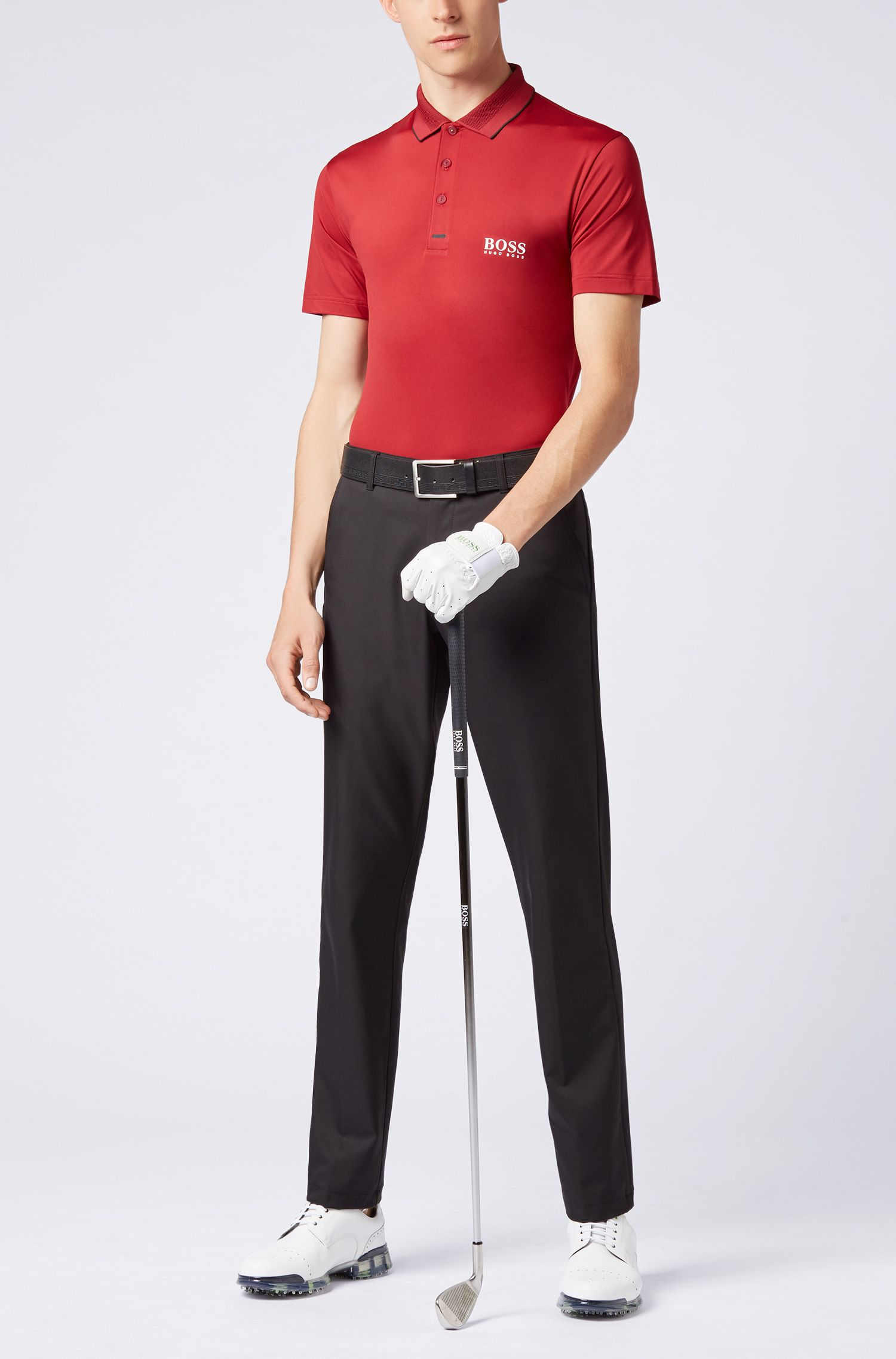 Slim-fit polo shirt in moisture-wicking stretch fabric, Dark Red