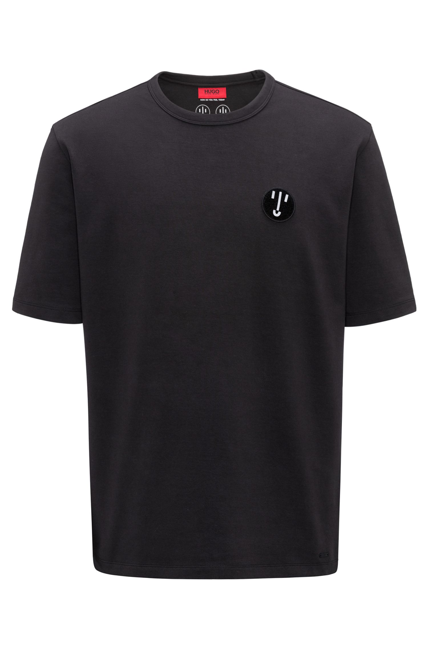 Oversized-fit stretch-cotton T-shirt with badge detail, Black
