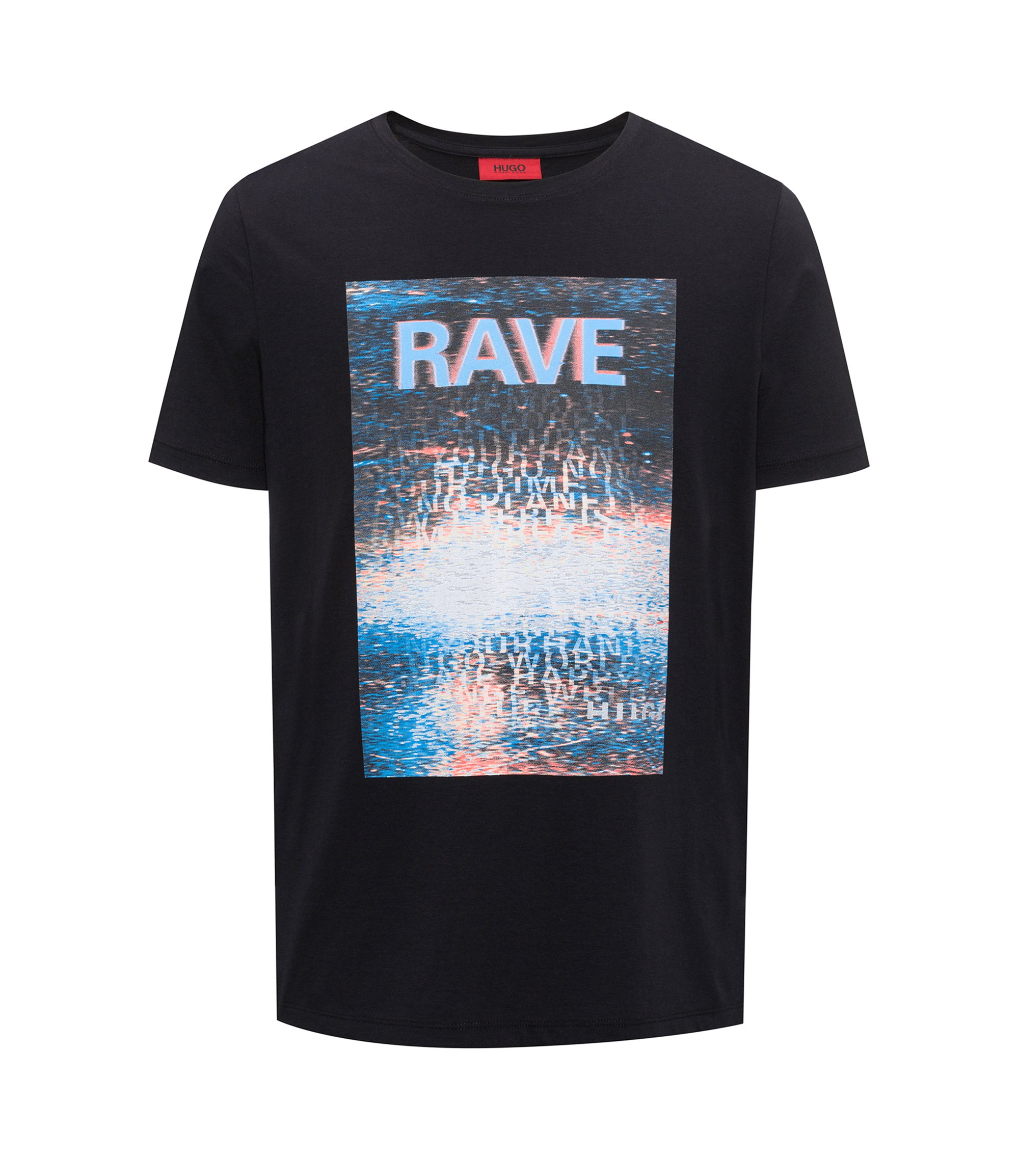 Relaxed-fit cotton T-shirt with retro print, Black