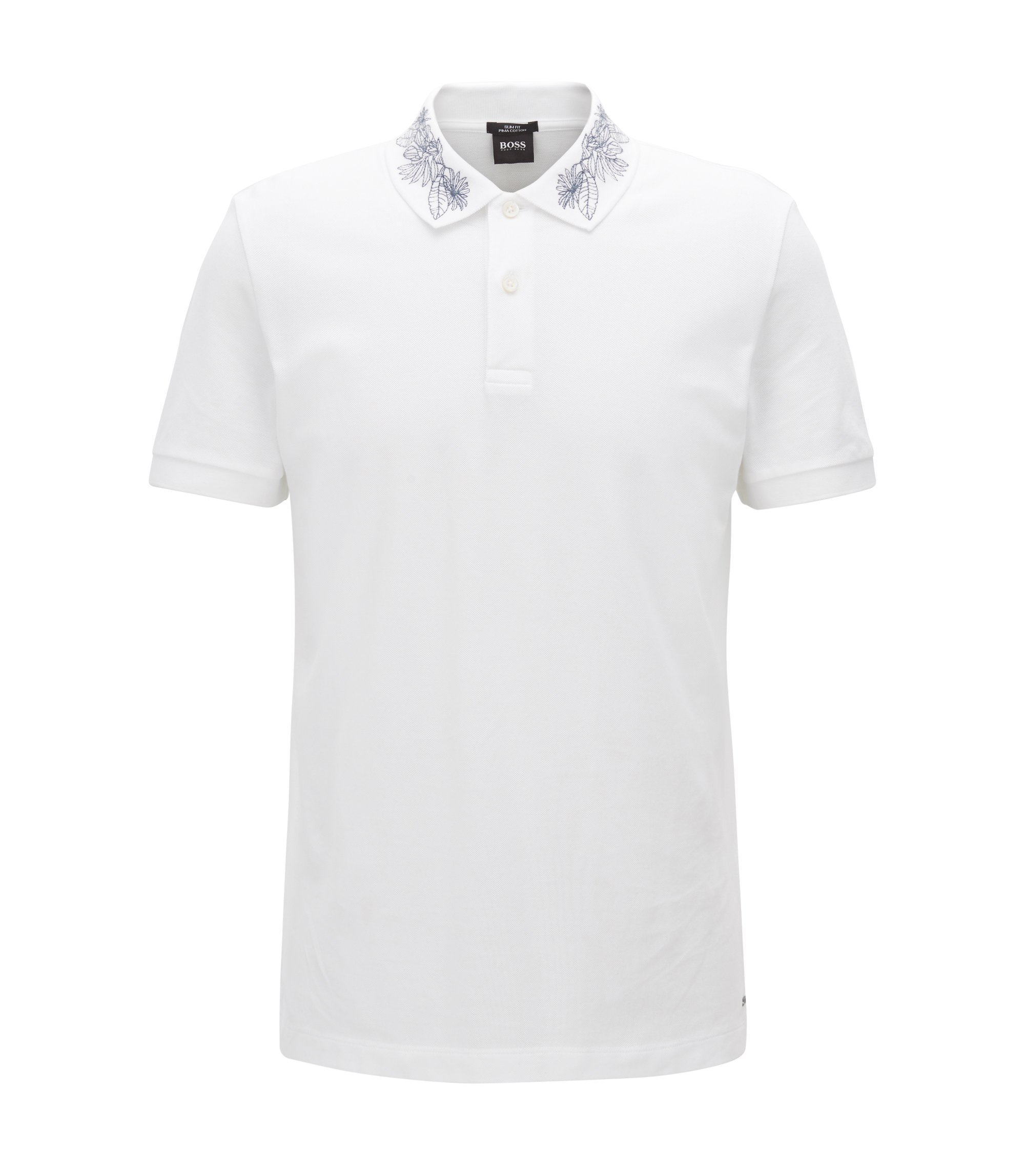 Slim-fit cotton polo shirt with embroidered collar, White