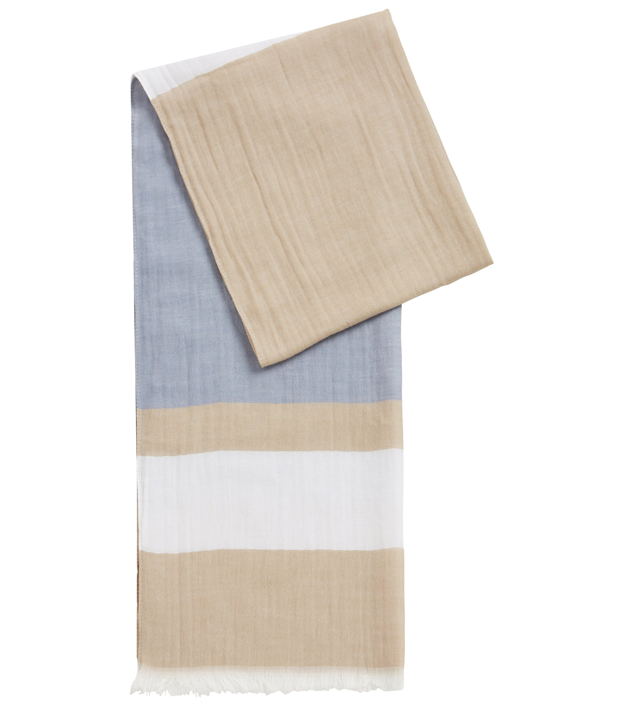Oversized modal-blend scarf with block stripe, Light Beige