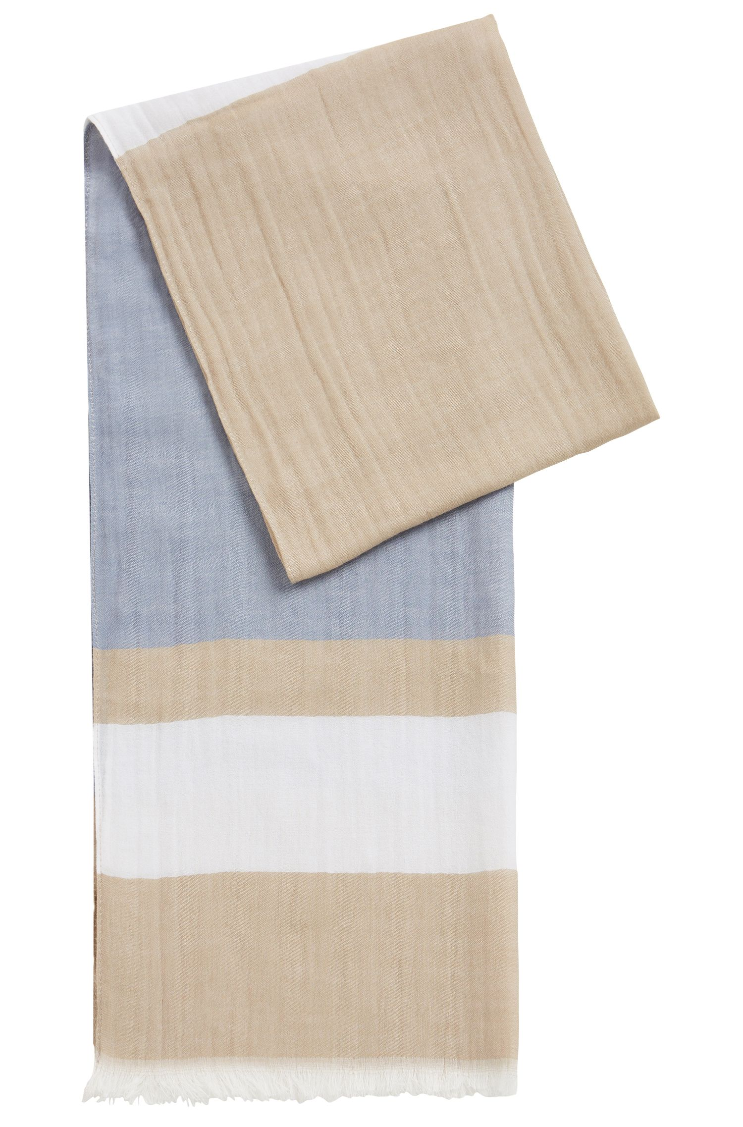 Oversized modal-blend scarf with block stripe