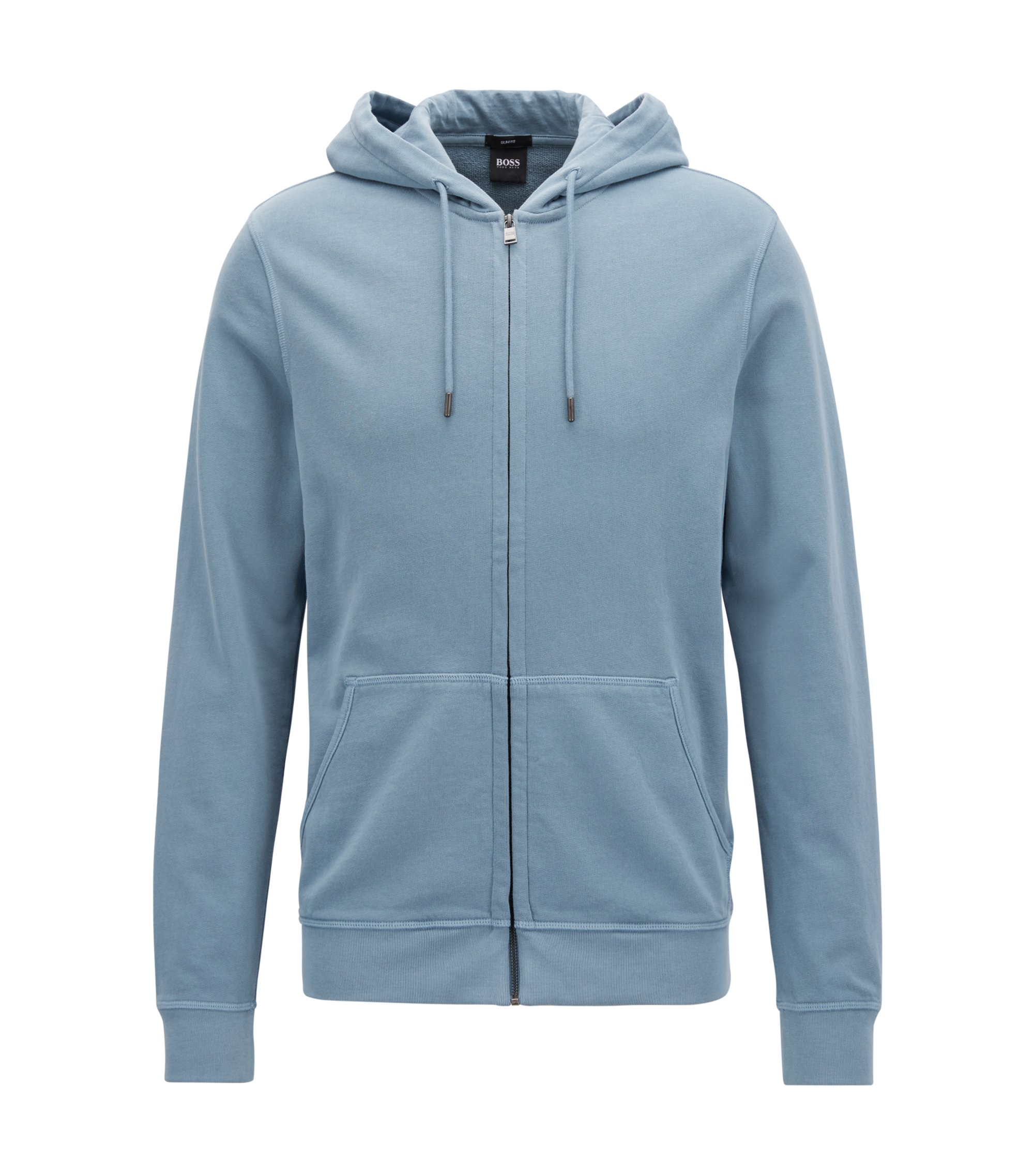 Zippered cotton hoodie with sun-faded effect, Open Blue