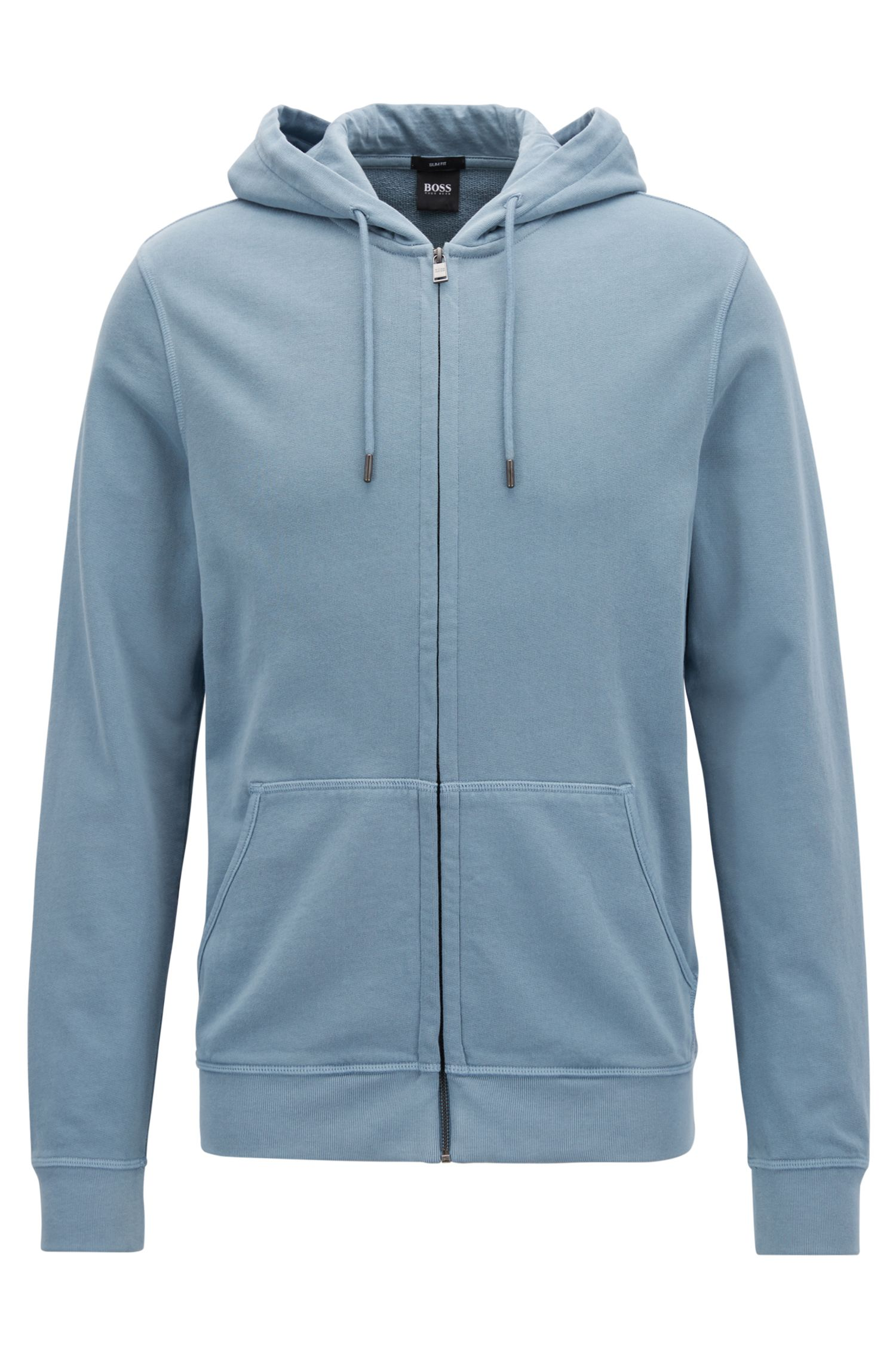 Zippered cotton hoodie with sun-faded effect
