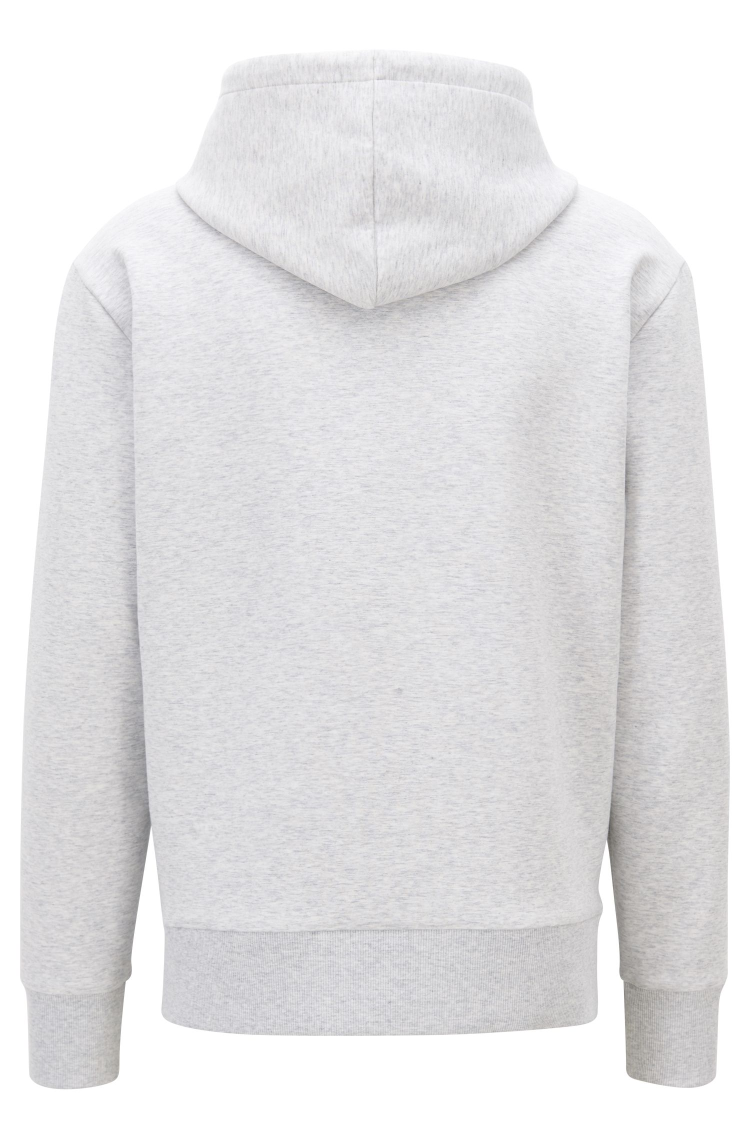 Hooded sweatshirt in stretch-cotton blend with embossed logo, Light Grey