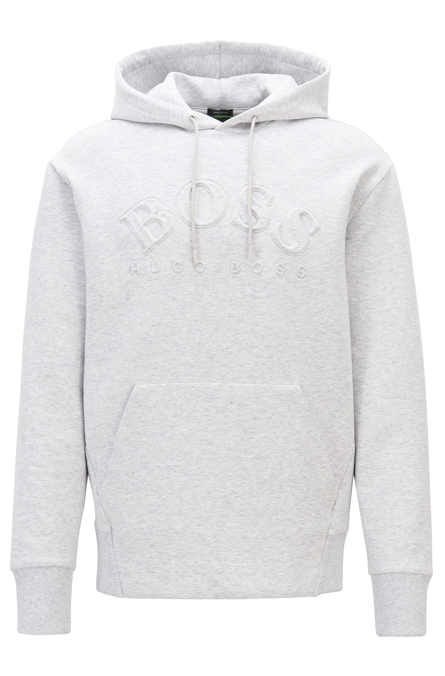 Hooded sweatshirt in stretch-cotton blend with embossed logo