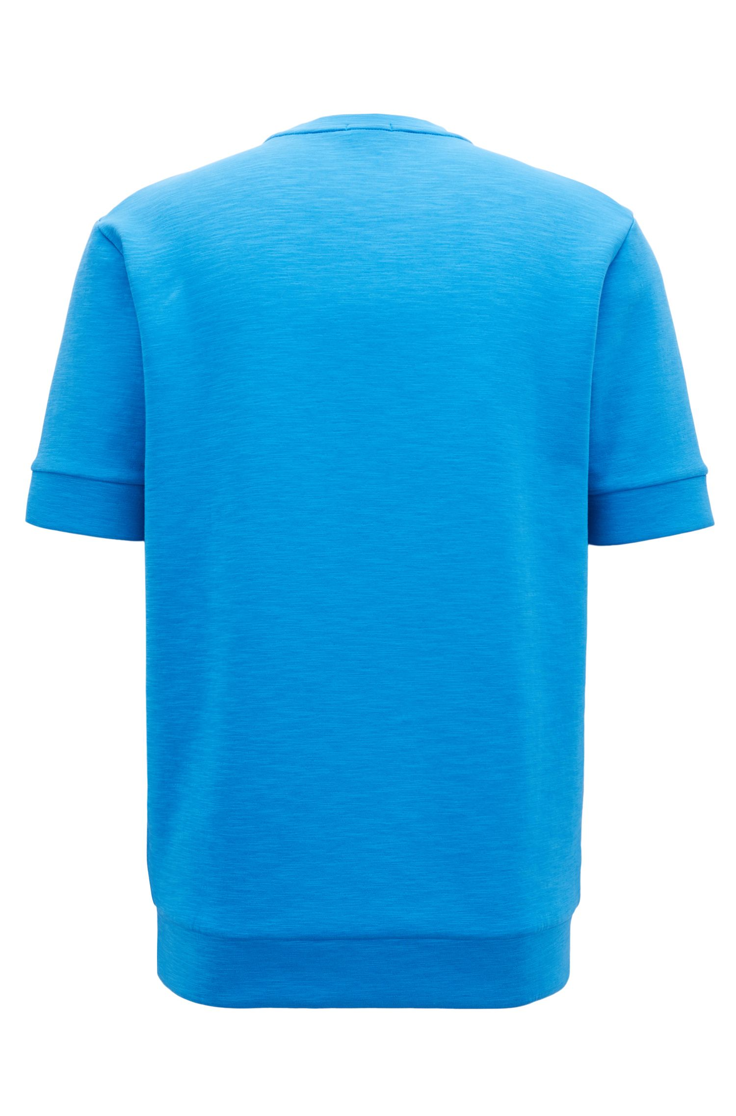 Short-sleeved sweatshirt with embossed logo, Blue