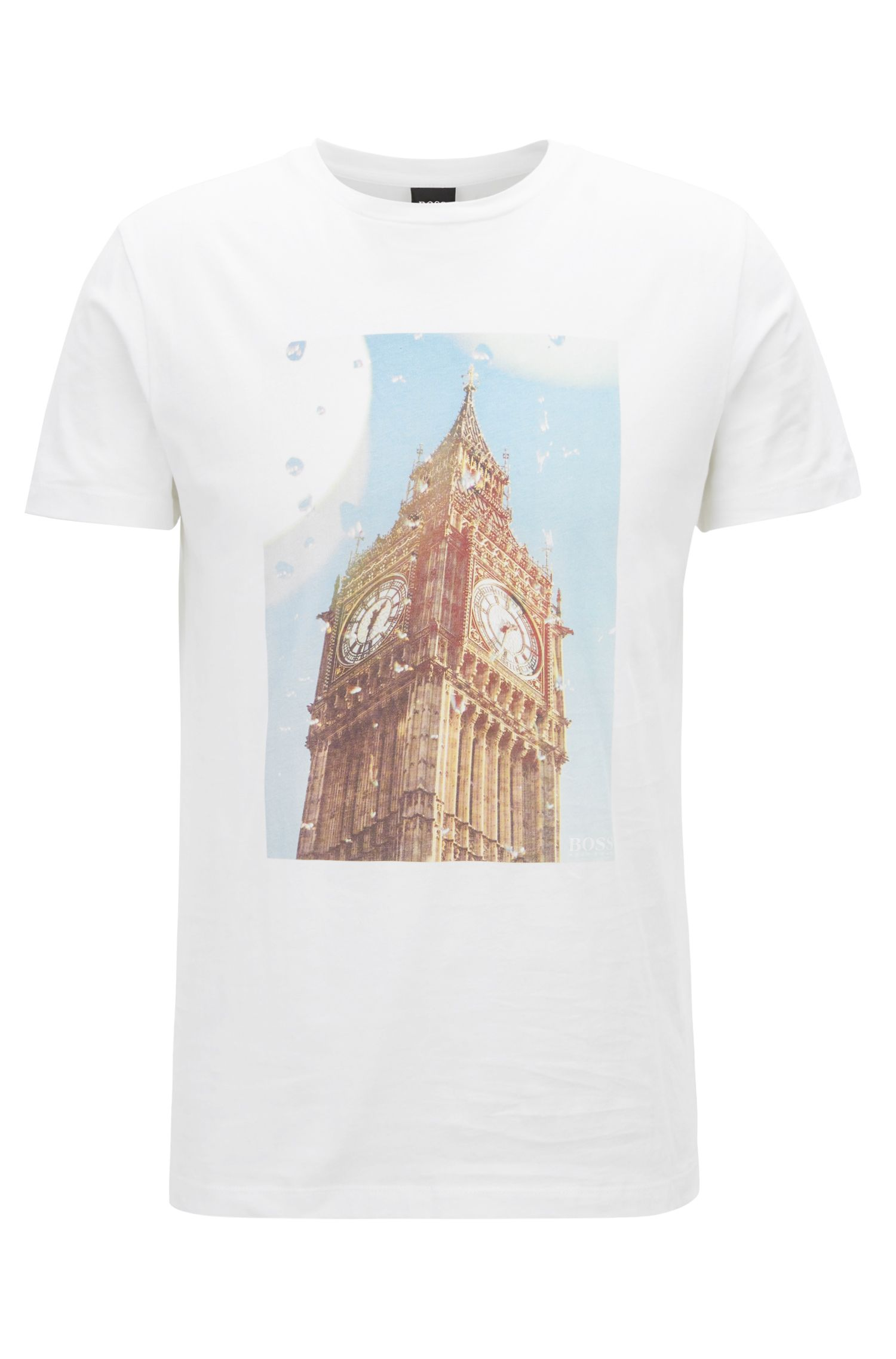 Washed cotton T-shirt with Big Ben print, White