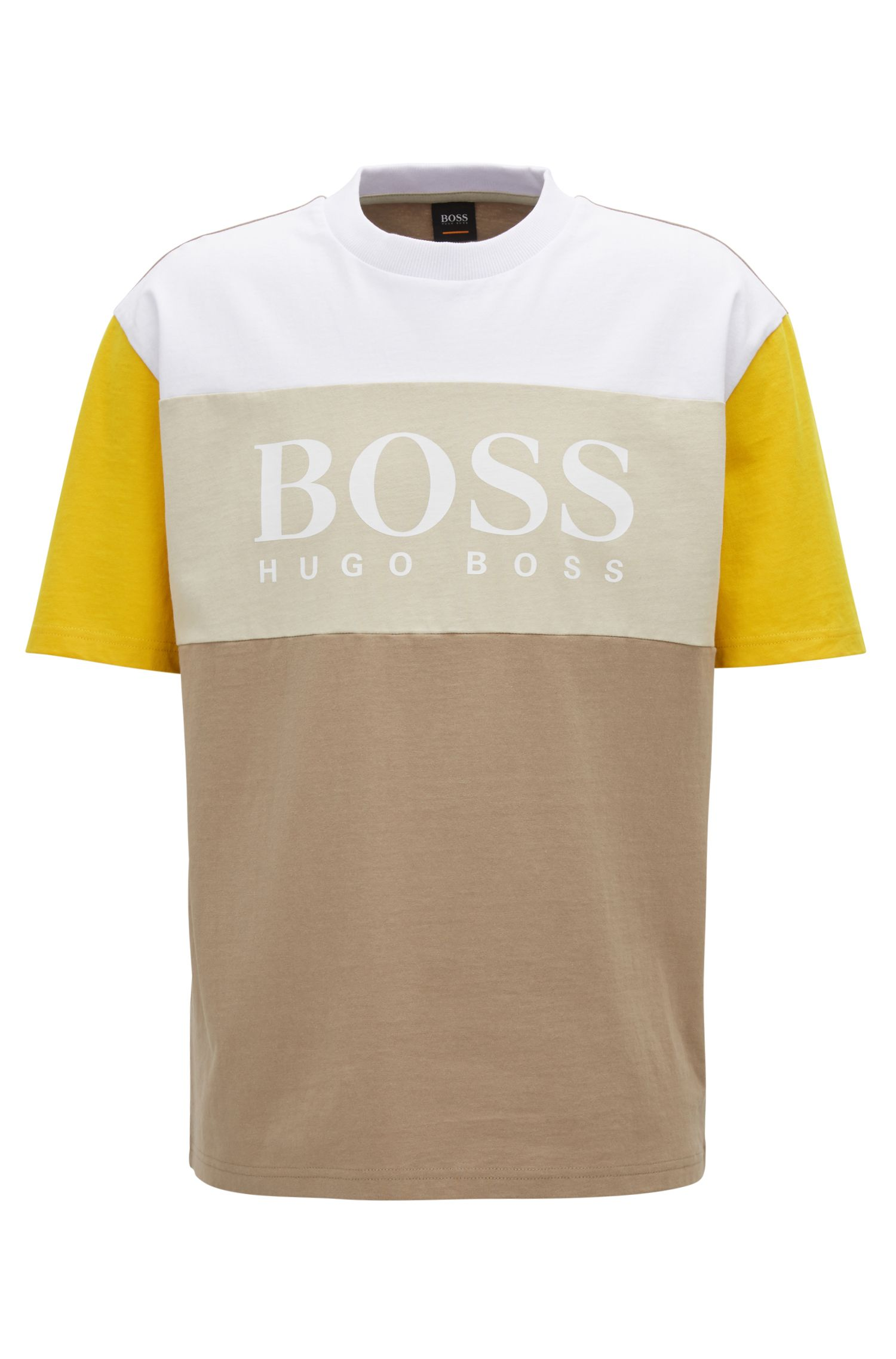 Boxy fit logo T-shirt in color-block cotton, Beige