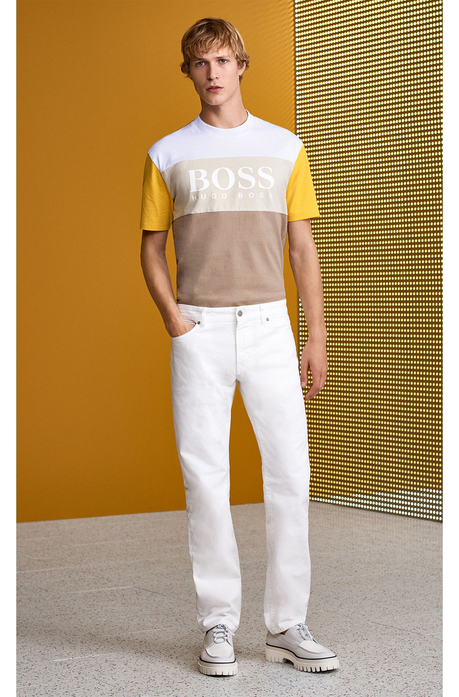 Boxy fit logo T-shirt in color-block cotton