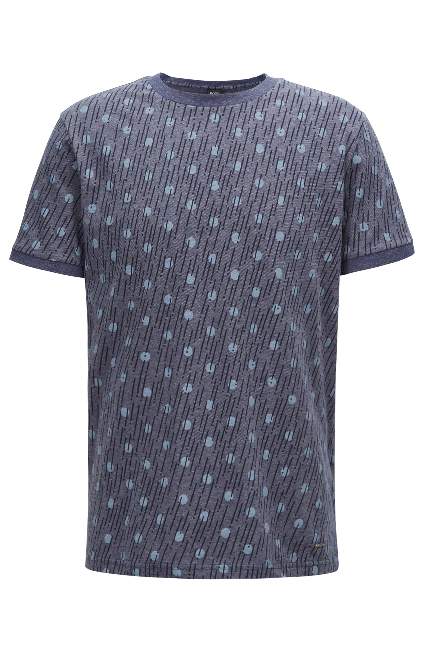 Printed T-shirt in melange single-jersey cotton