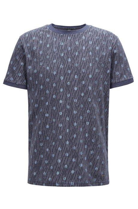 Printed T-shirt in melange single-jersey cotton, Blue
