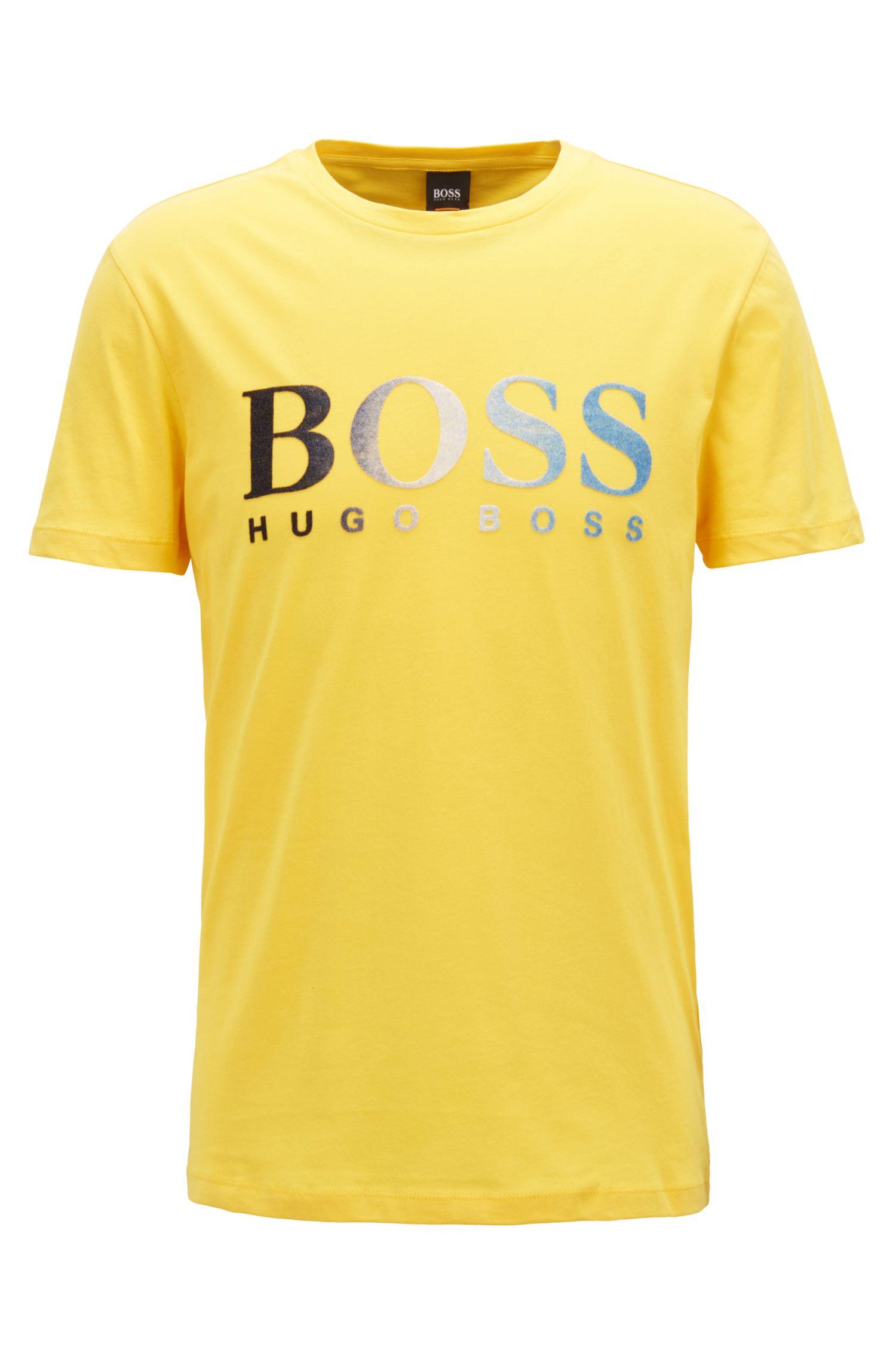 Jersey T-shirt with dégradé flocked logo, Yellow