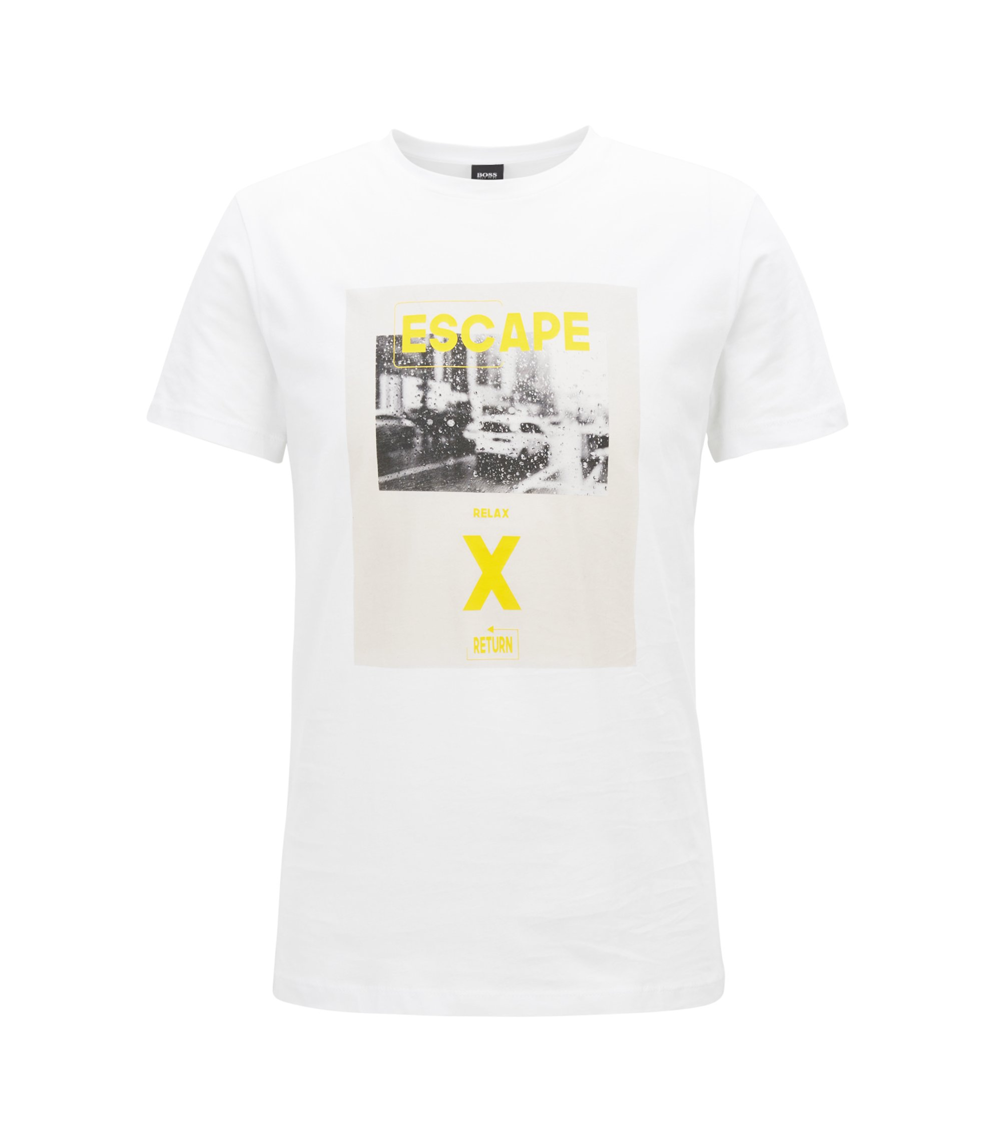 Washed cotton T-shirt with hybrid graphic print, White
