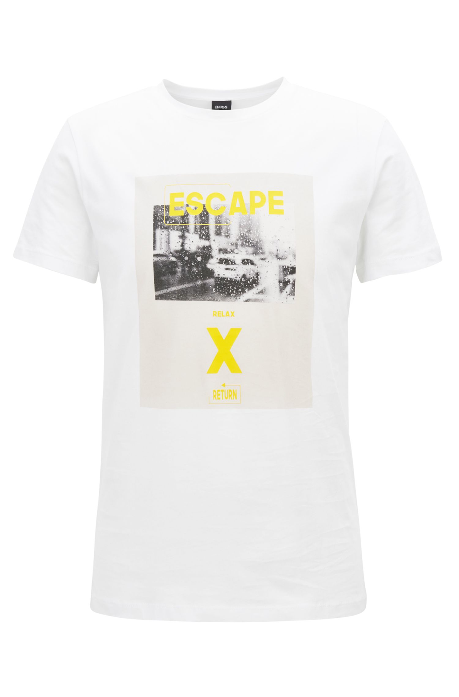 Washed cotton T-shirt with hybrid graphic print