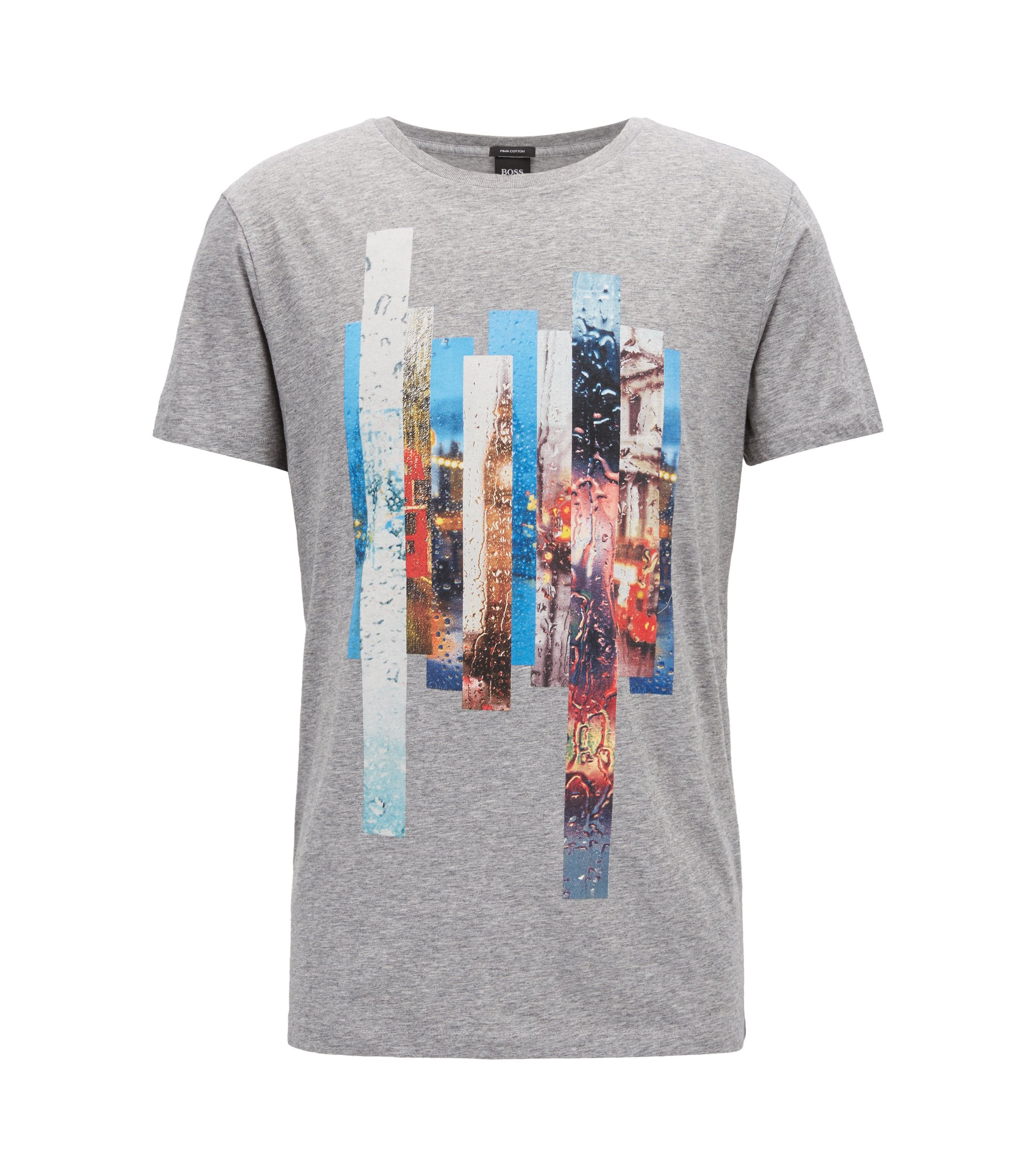 Photographic-print T-shirt in washed Pima cotton, Light Grey
