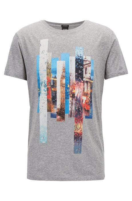 BOSS - Photographic-print T-shirt in washed Pima cotton 0fa9559e7