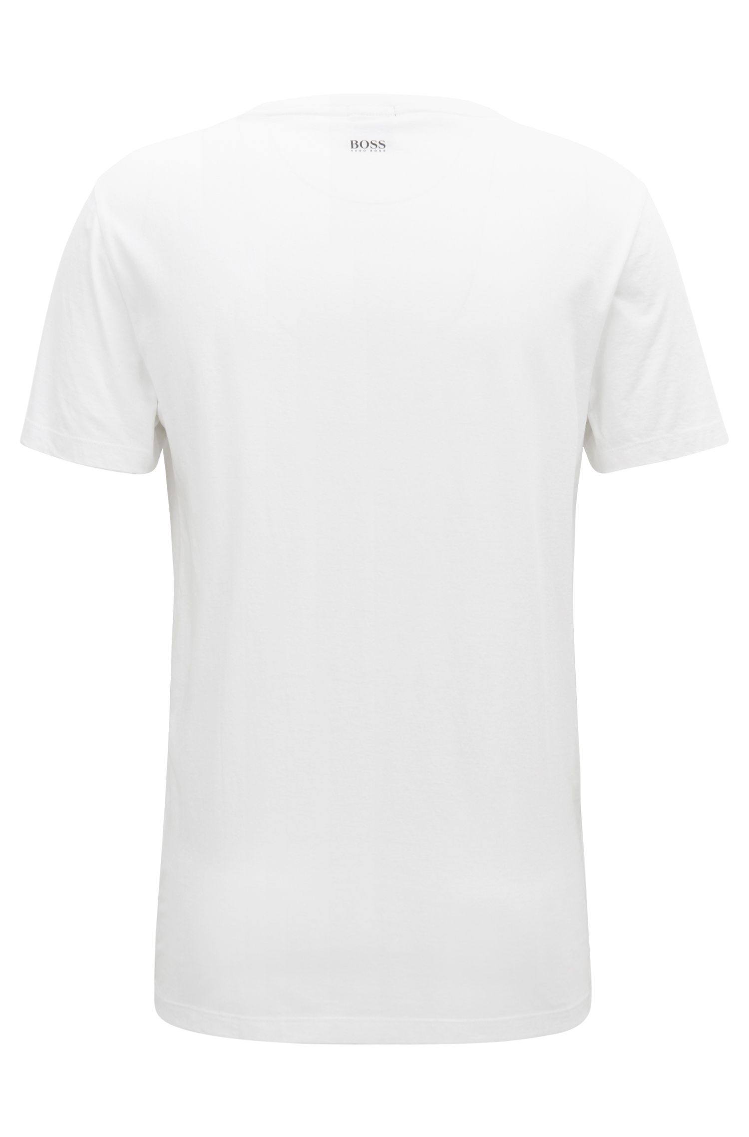 Photographic-print T-shirt in washed Pima cotton, White