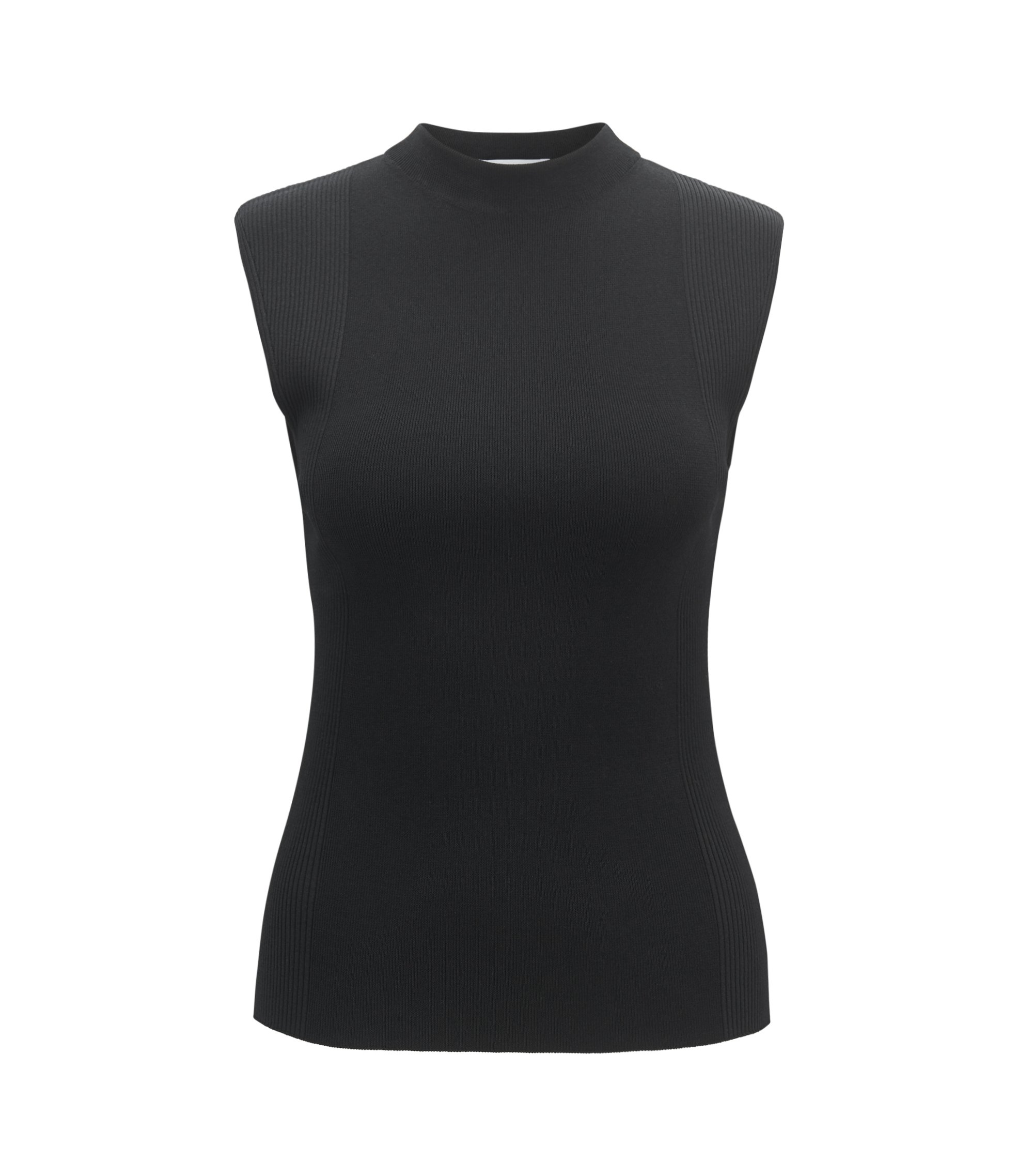 Sleeveless knitted top in ribbed stretch fabric, Black