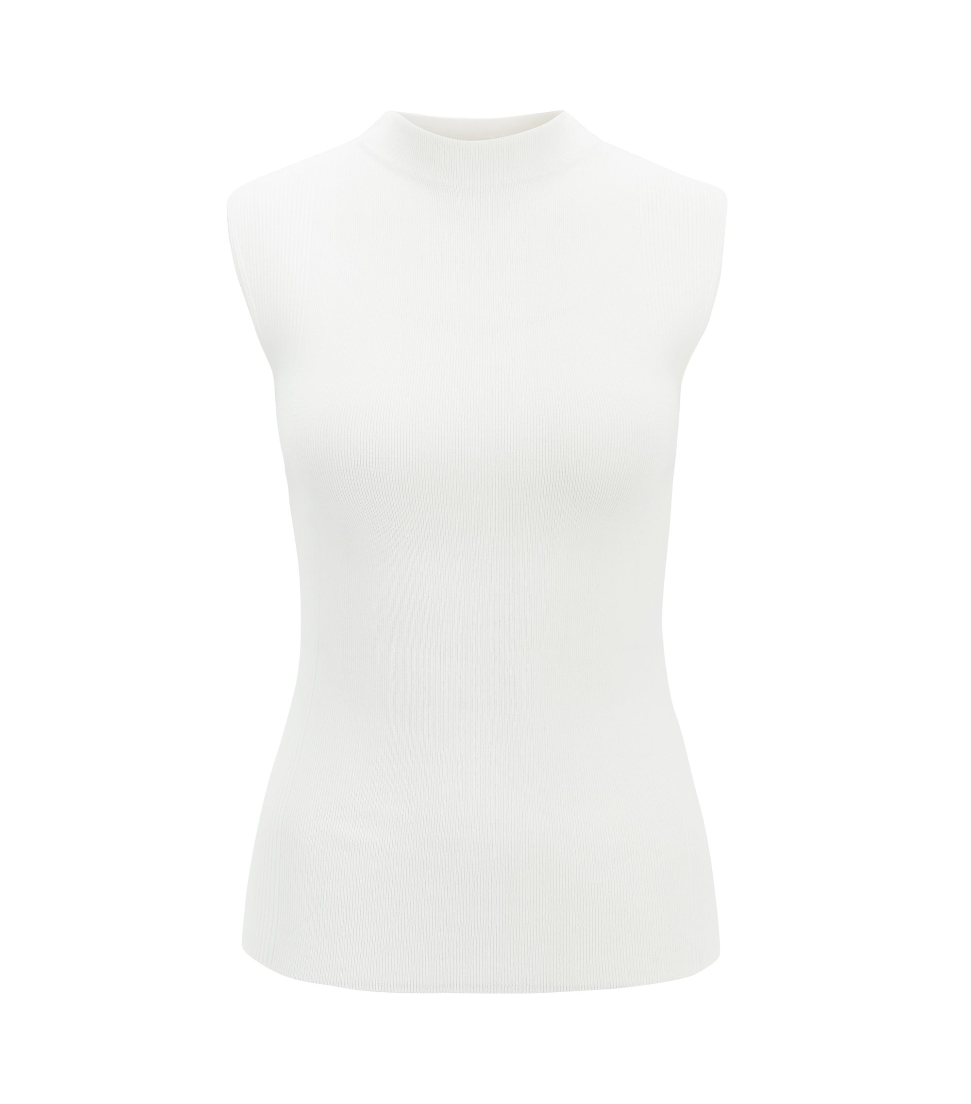 Sleeveless knitted top in ribbed stretch fabric, Natural