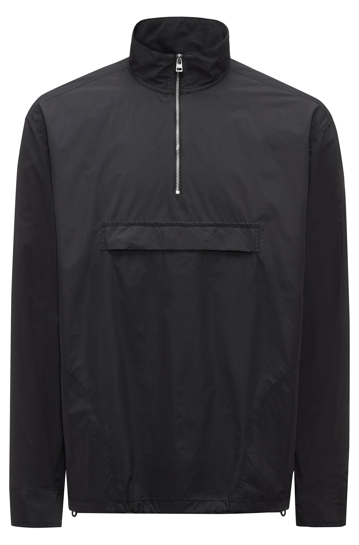 Relaxed-fit zipper-neck shirt jacket in technical fabric