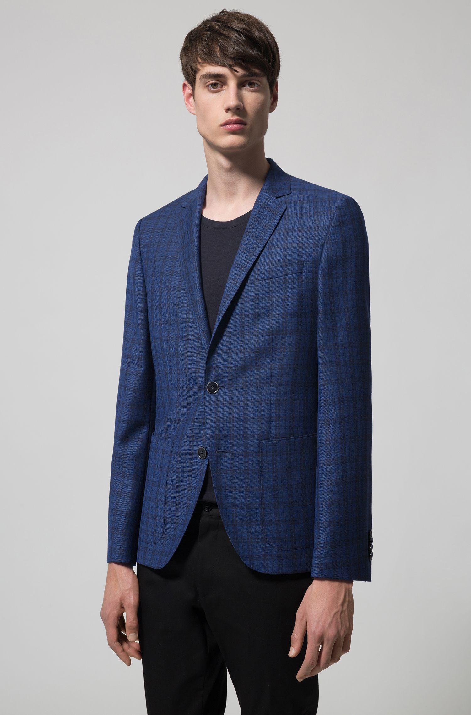 Regular-fit blazer in checkered virgin wool, Dark Blue