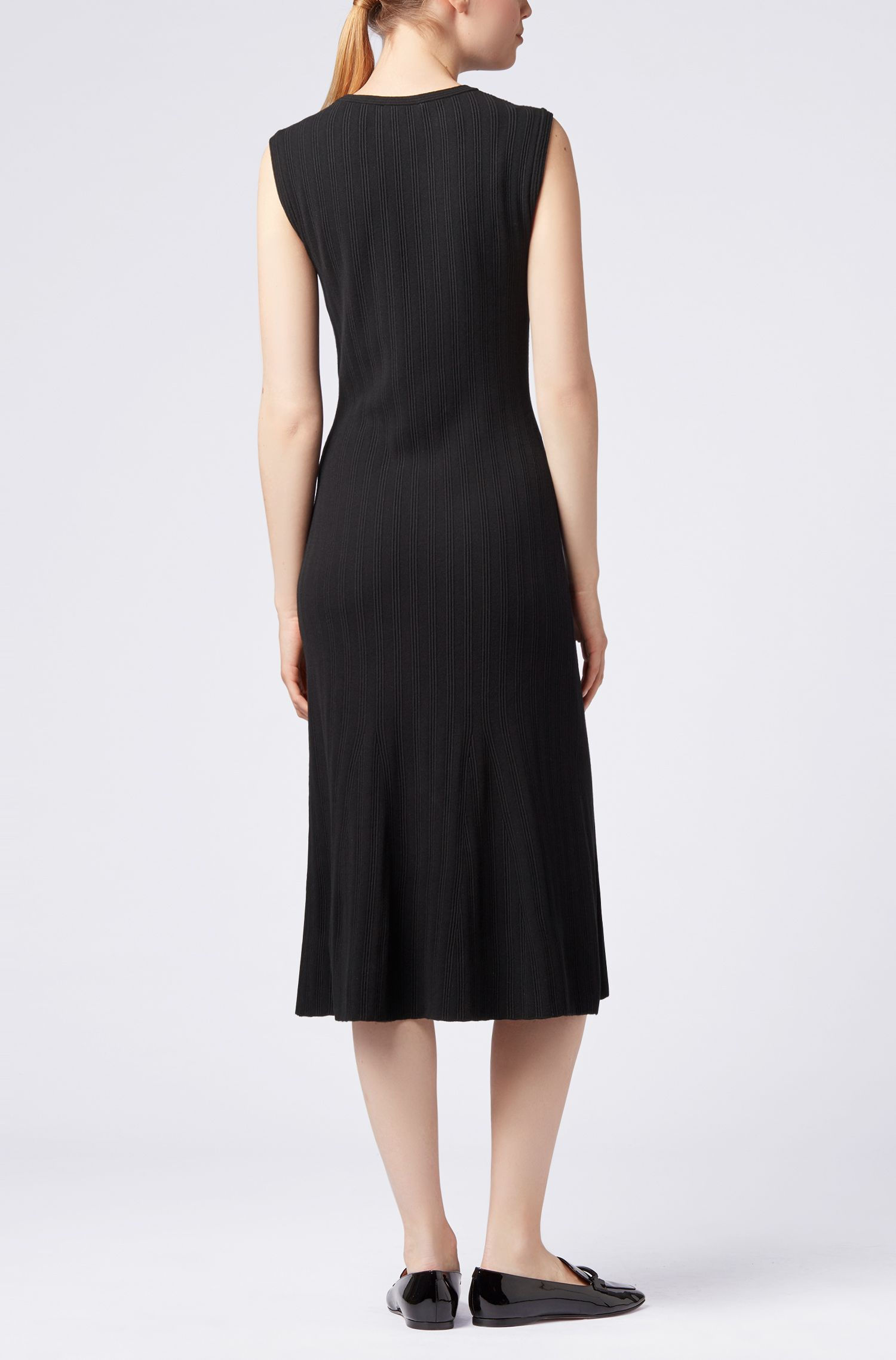 Sleeveless midi dress in a structured knit with flared skirt
