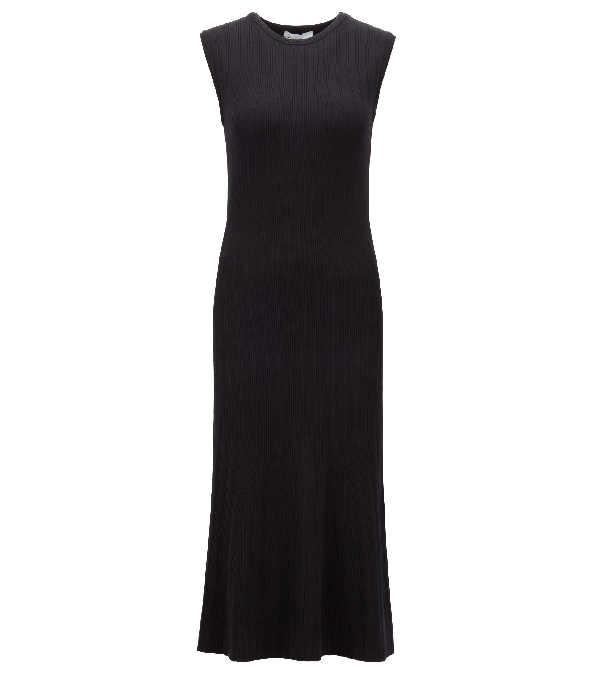 Sleeveless midi dress in a structured knit with flared skirt, Black