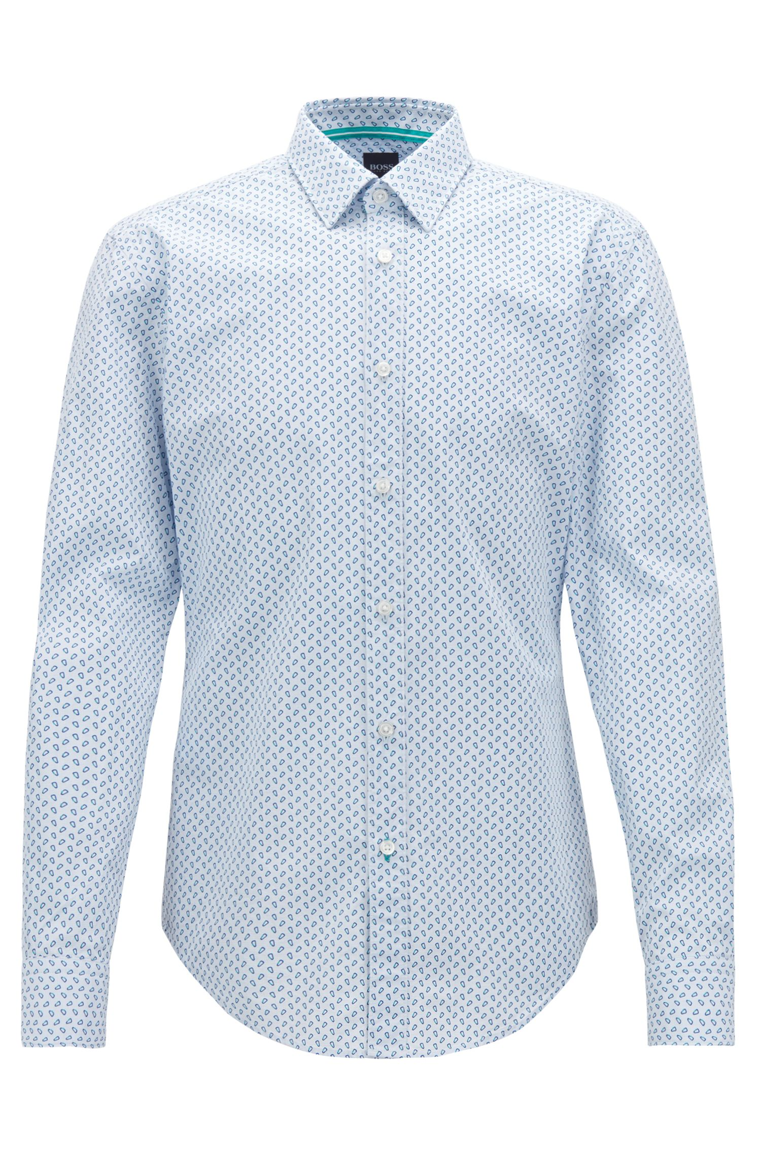 Slim-fit shirt in printed micro-check cotton poplin, Open Blue