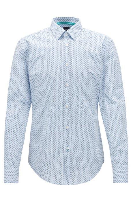 6397c2fa2 BOSS - Slim-fit shirt in printed micro-check cotton poplin