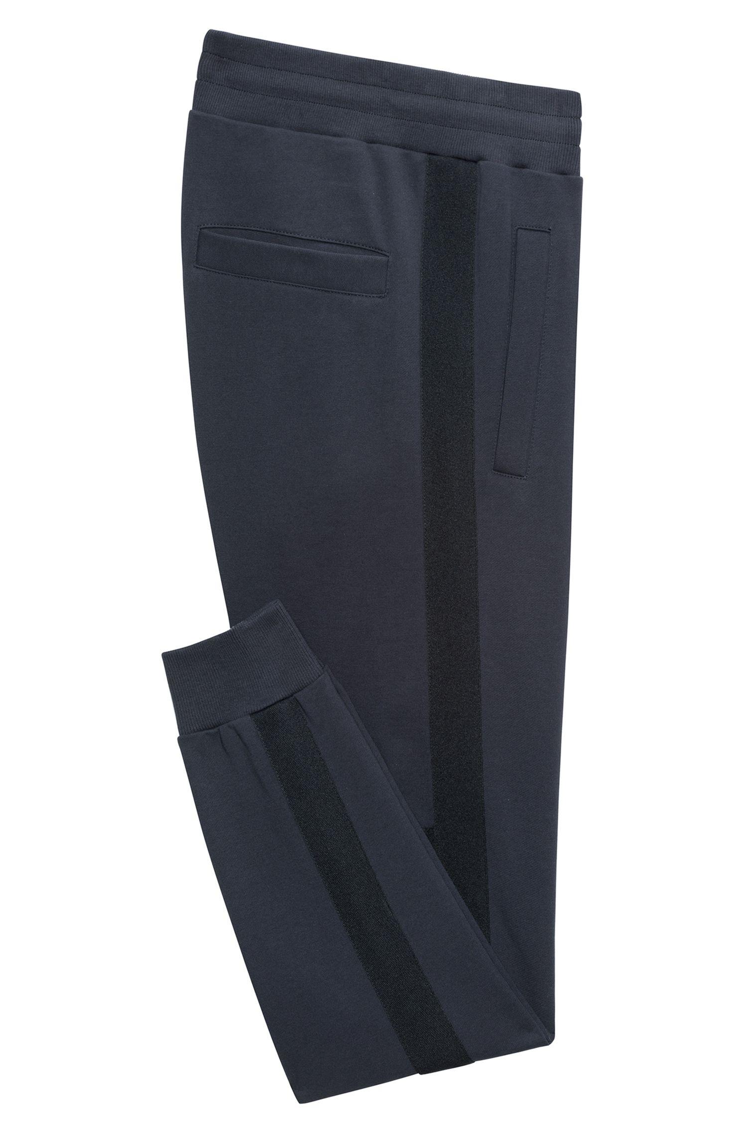 Cotton jogging pants with side stripes, Dark Blue