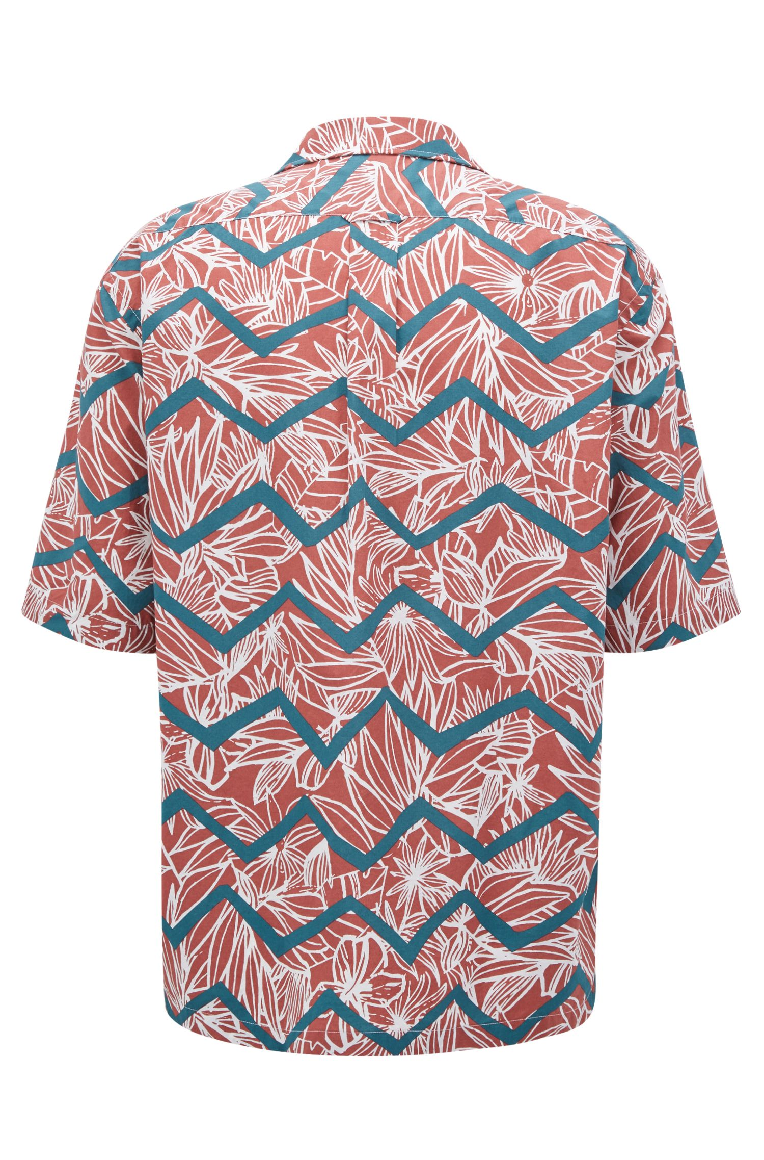 Regular-fit printed cotton shirt with camp collar , Open Red