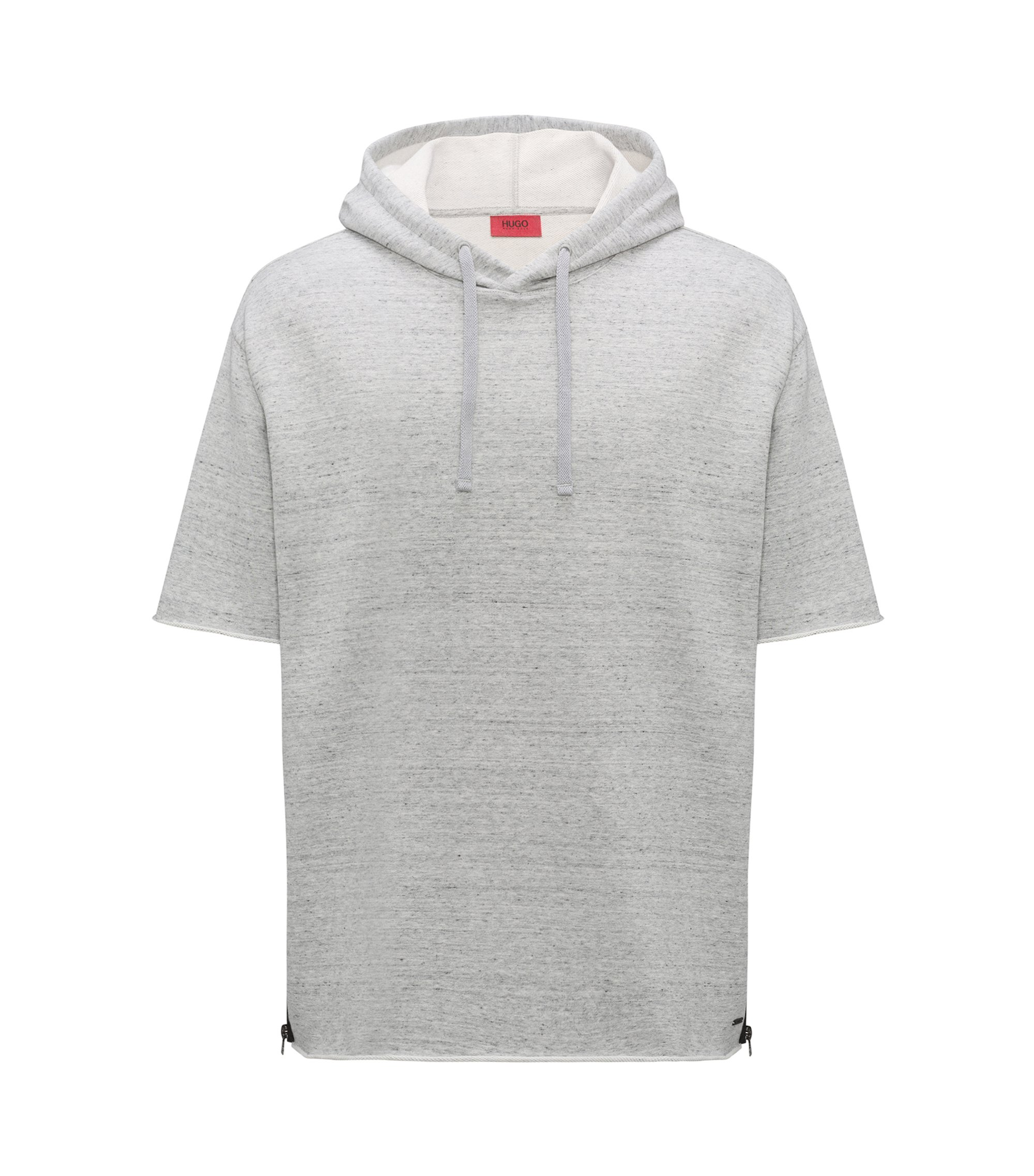 Short-sleeved hooded sweatshirt with zippered side seams, Open Grey