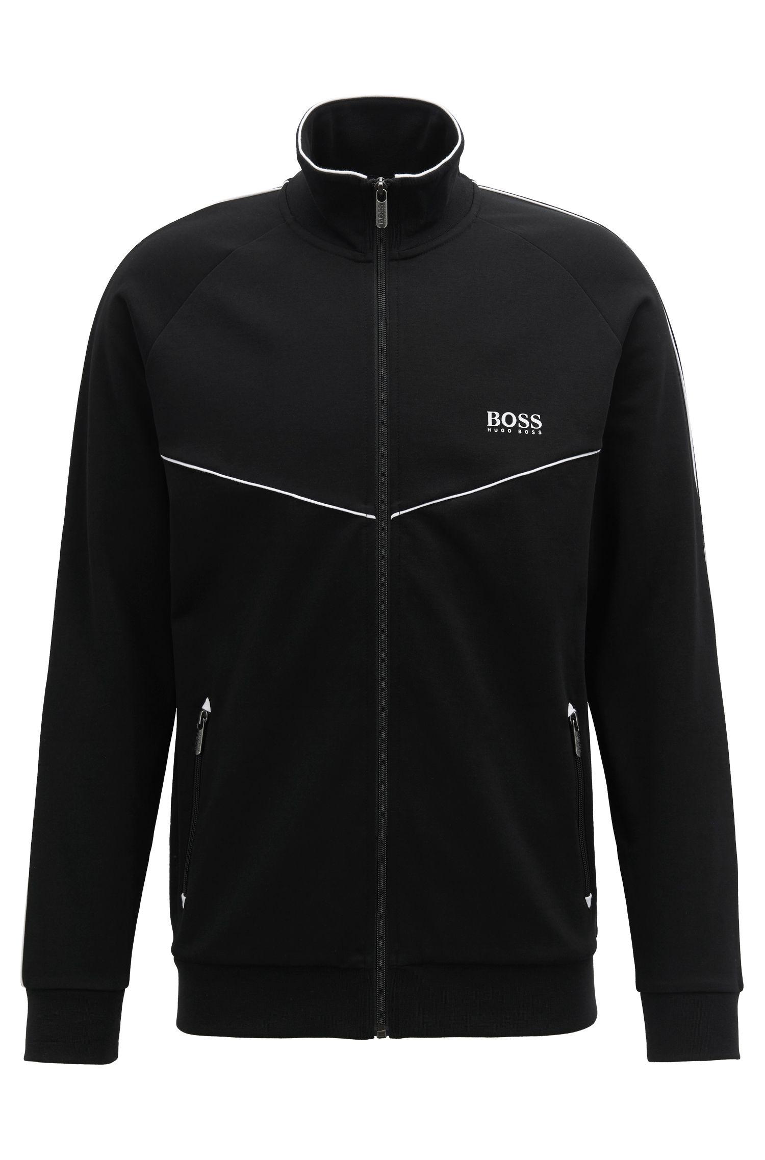 Loungewear jacket in cotton-blend piqué , Black