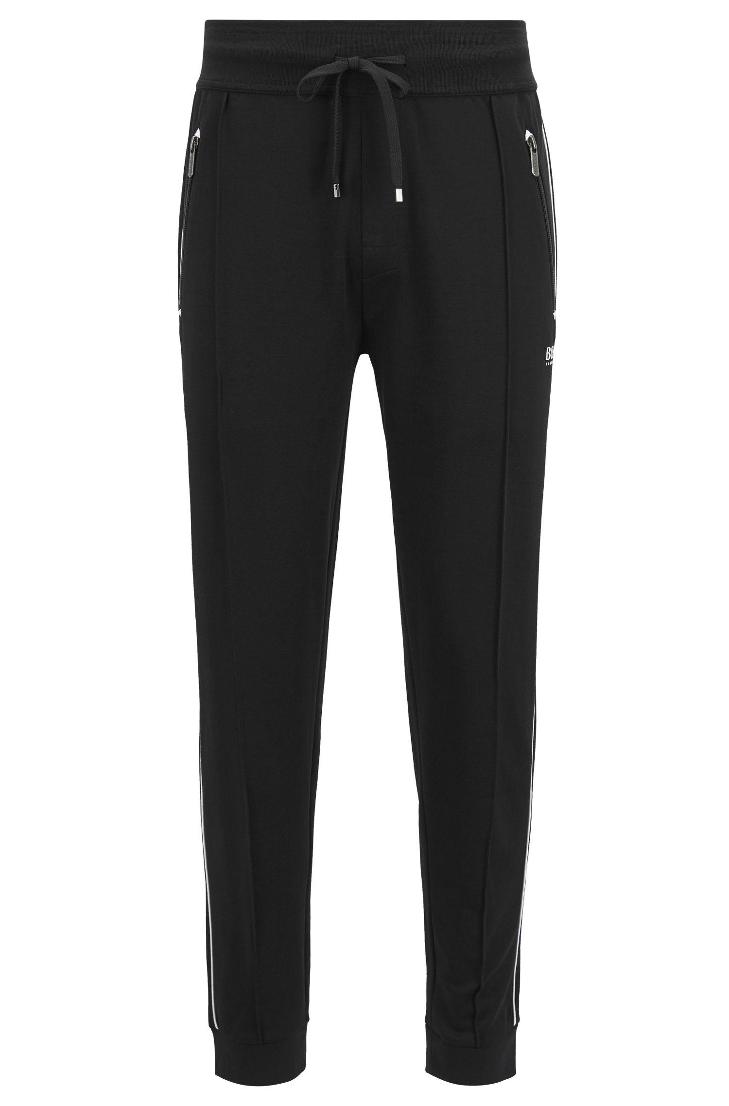Loungewear pants in cotton-blend piqué , Black