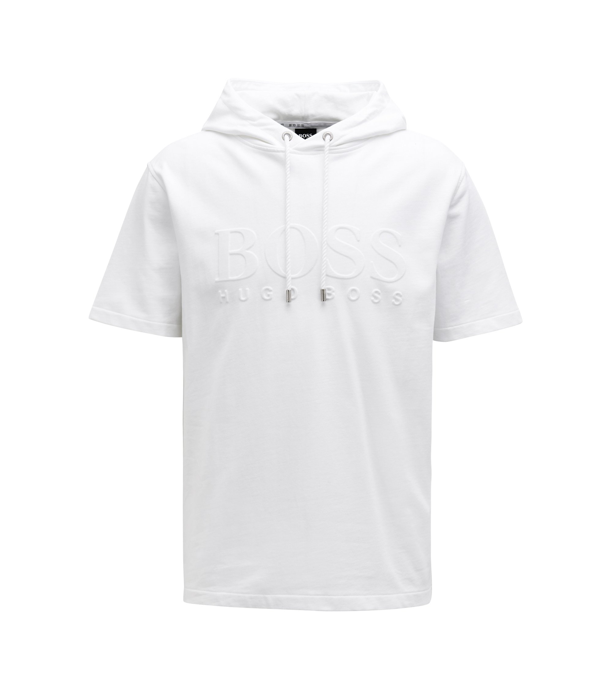 Short-sleeved hooded sweatshirt with embossed logo, White