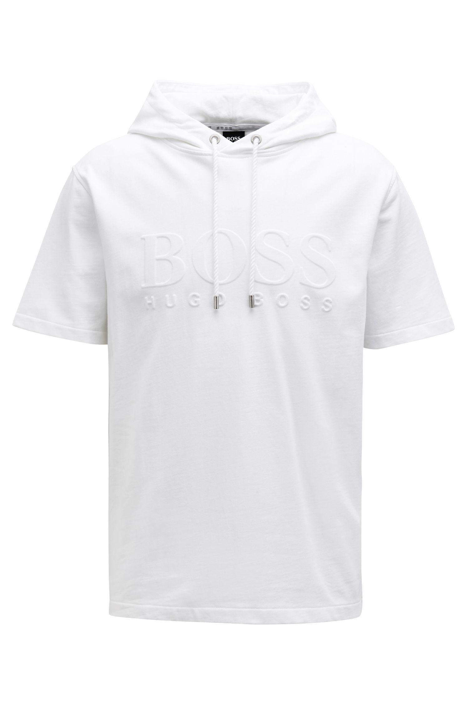 Short-sleeved hooded sweatshirt with embossed logo, White