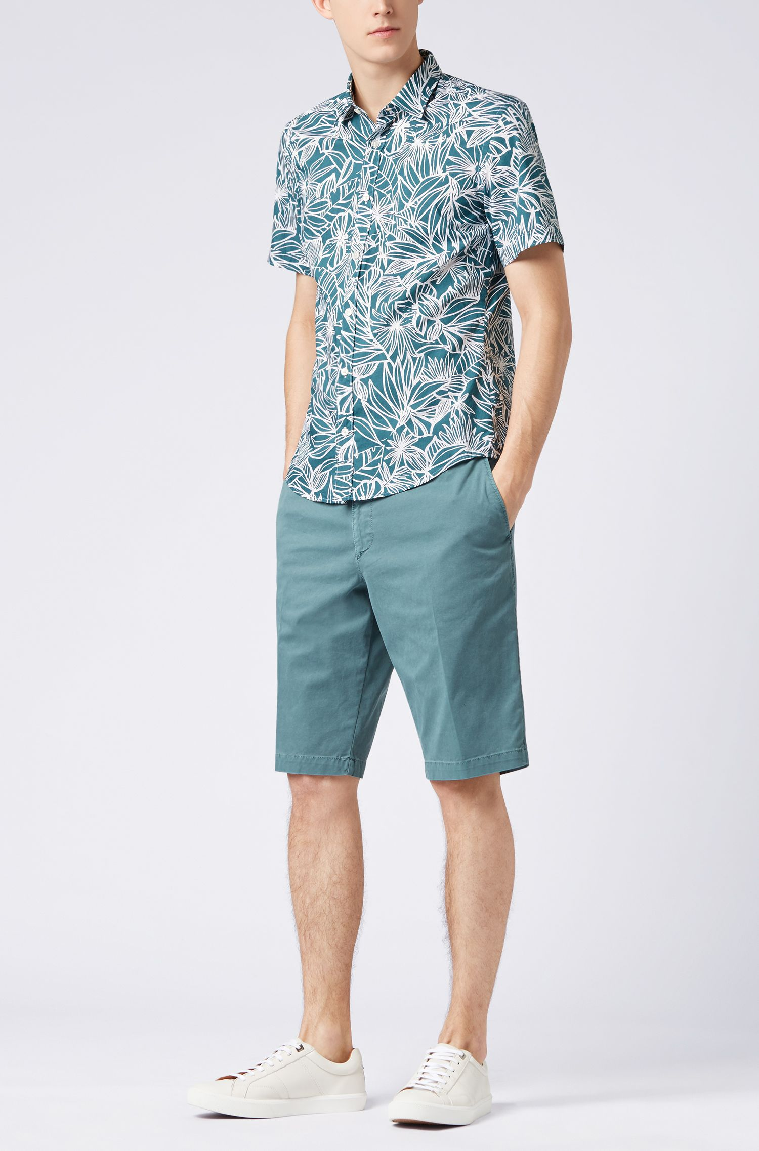 Floral-print slim-fit shirt in washed cotton, Dark Green