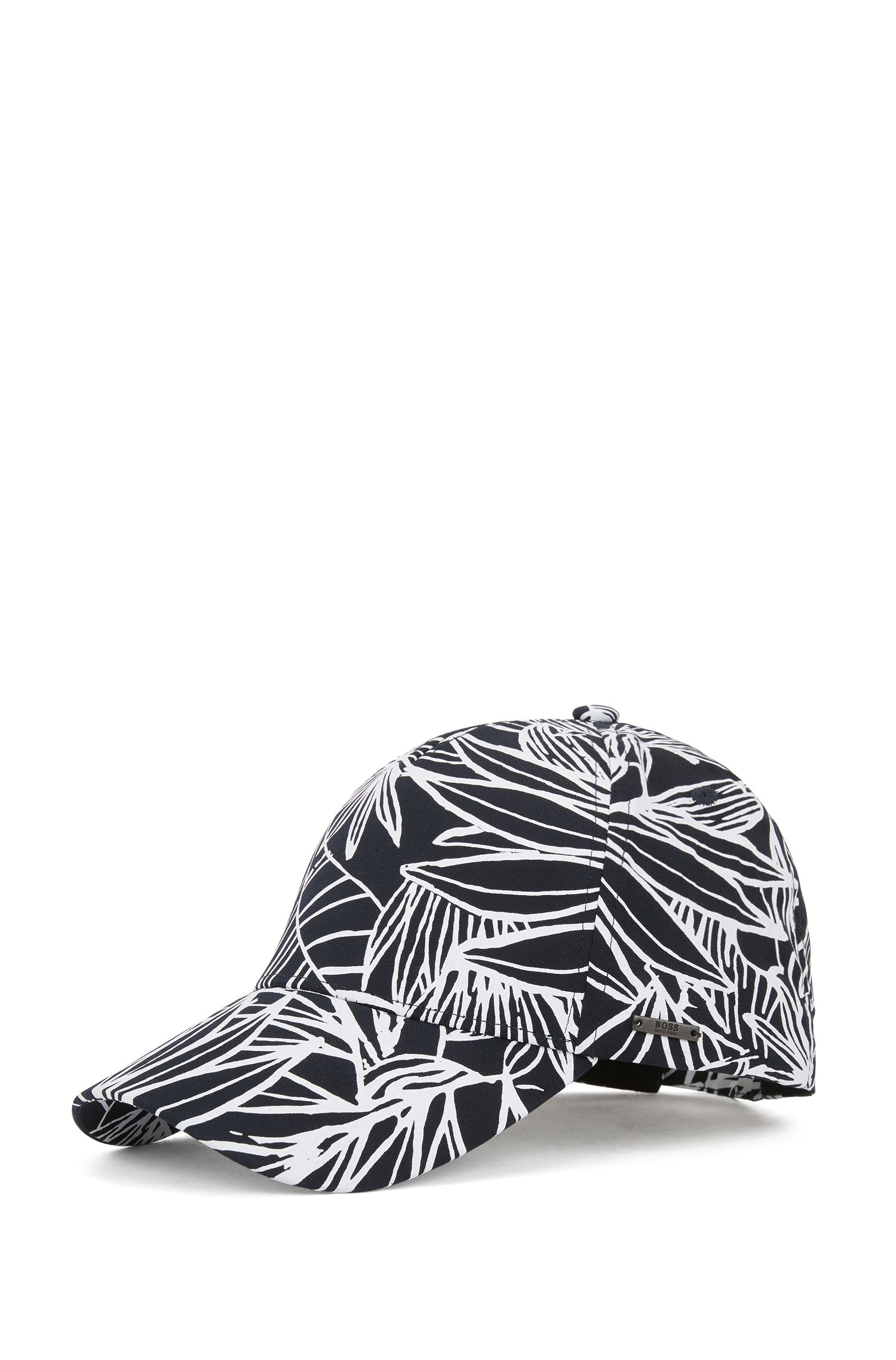 Floral-pattern baseball cap in cotton