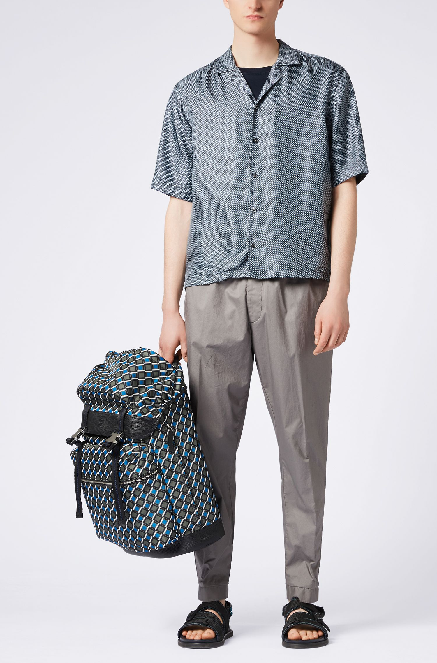 Relaxed-fit shirt in printed Italian silk